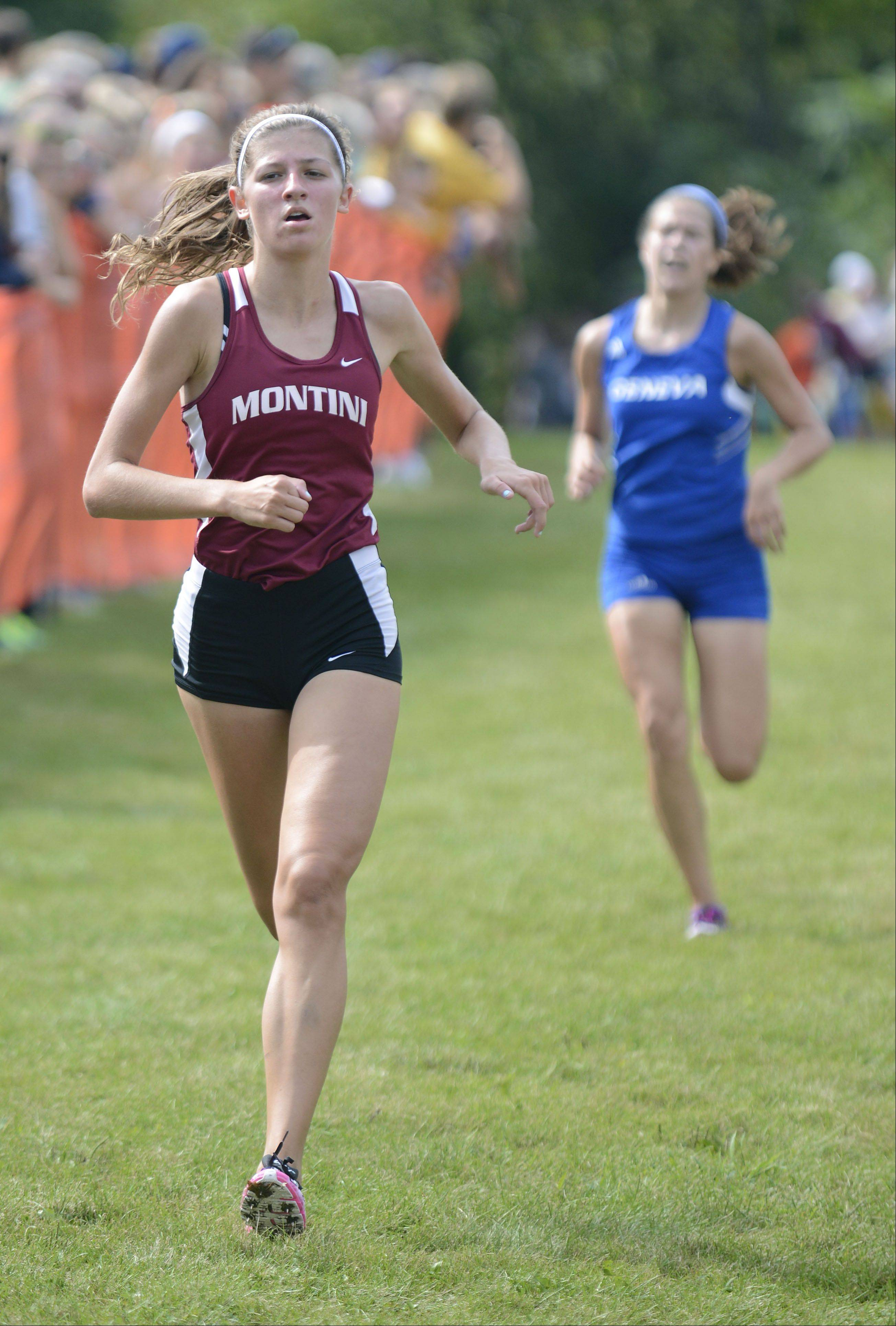 Montini's Brittany Fisher nears the finish line in the meet at Leroy Oakes Forest Preserve in St. Charles on Saturday, September 7.