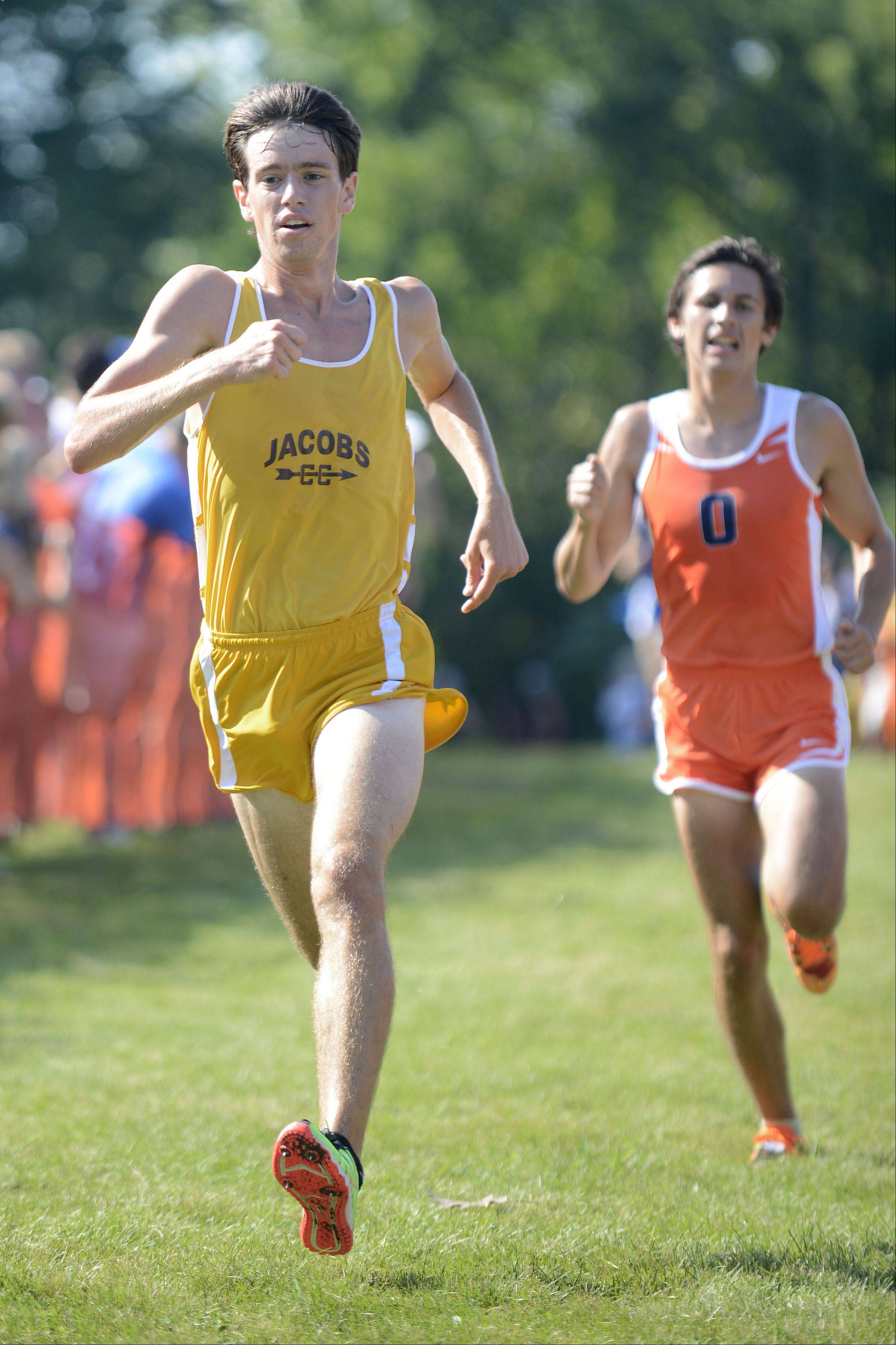 Jacobs' Matt Johnson flies to the finish line in the meet at Leroy Oakes Forest Preserve in St. Charles on Saturday, September 7.