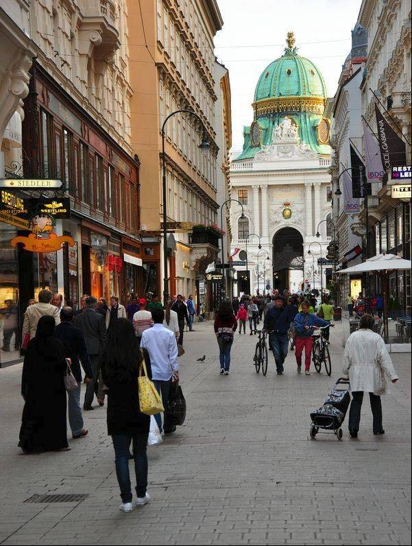 One of three pedestrian-only shopping streets in the old city, the Kohlmarkt is just off the Baroque structures of the Hofburg.