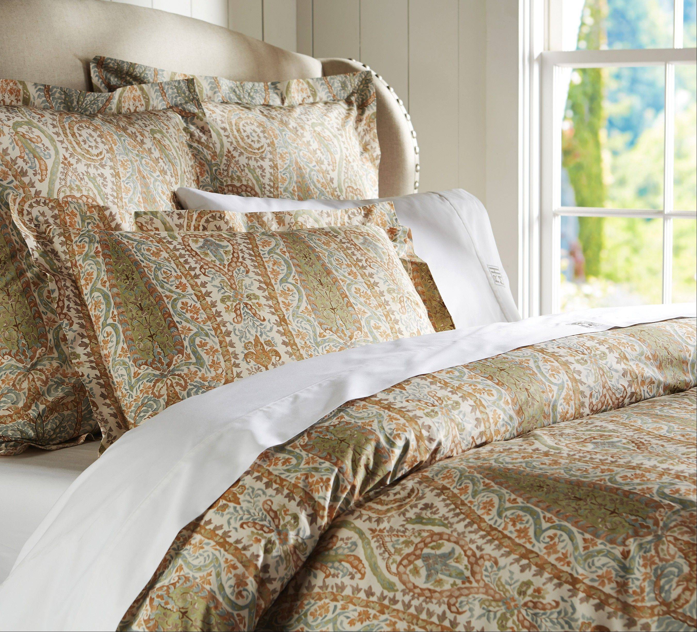 This Agatha bedding set comes in a blue or red color scheme. Paisleys and other rich patterns are popular in textiles for fall 2013.