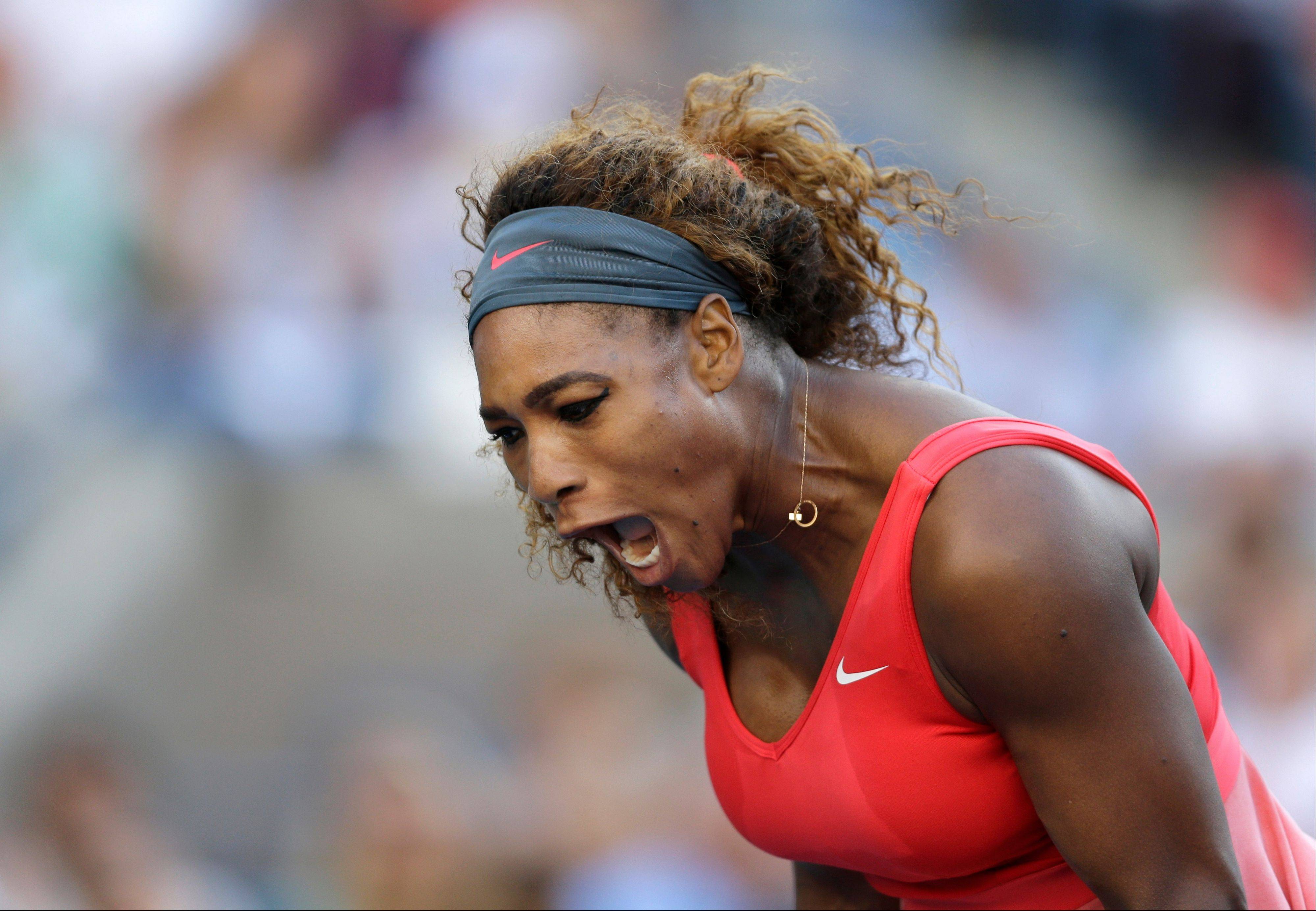 Serena Williams reacts after a point against Victoria Azarenka, of Belarus, during the women's singles final of the 2013 U.S. Open tennis tournament, Sunday, Sept. 8, 2013, in New York.