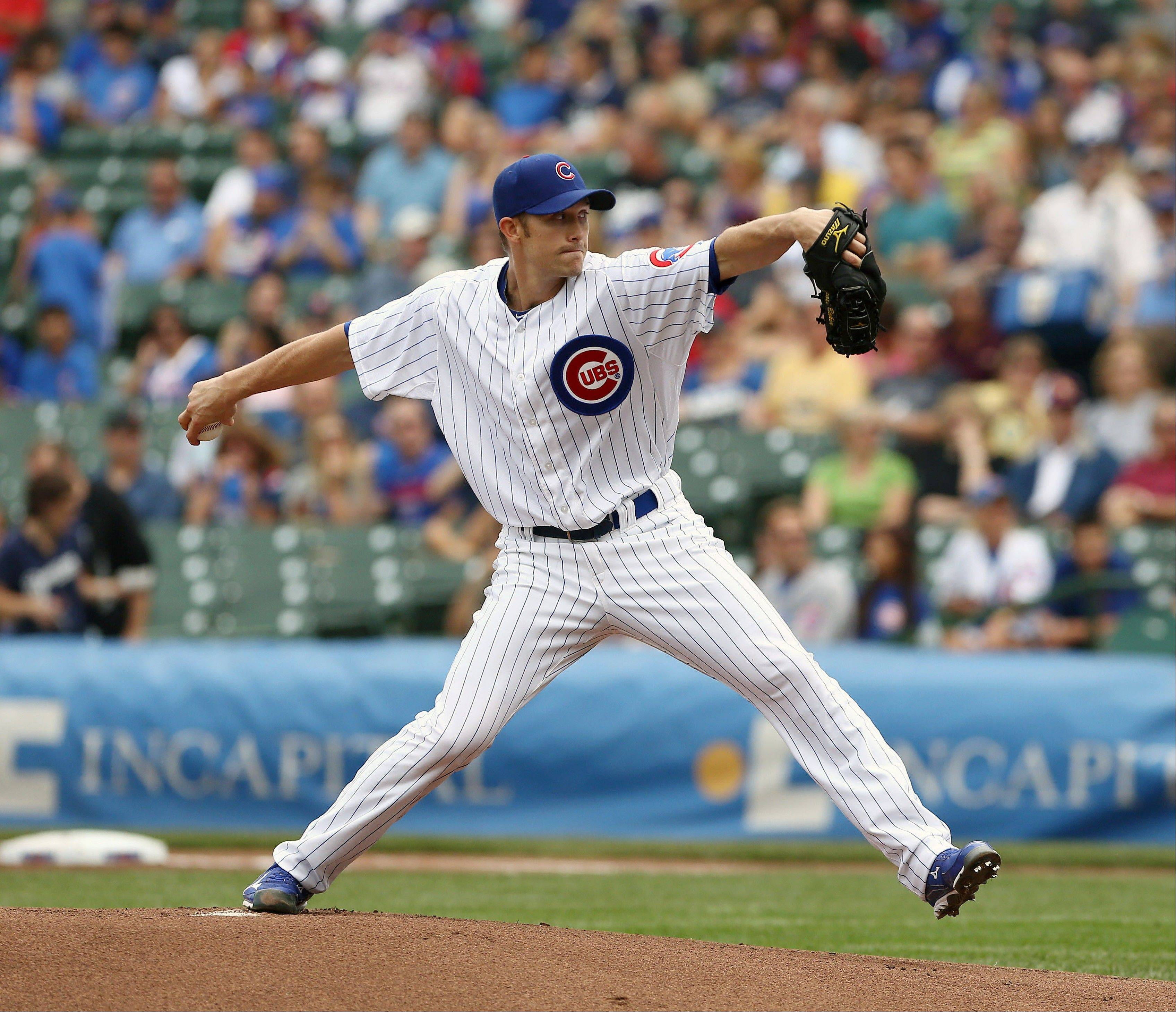 Starting pitcher Scott Baker made his Cubs debut Sunday, going 5 shutout innings and allowing only 2 hits against the Brewers.