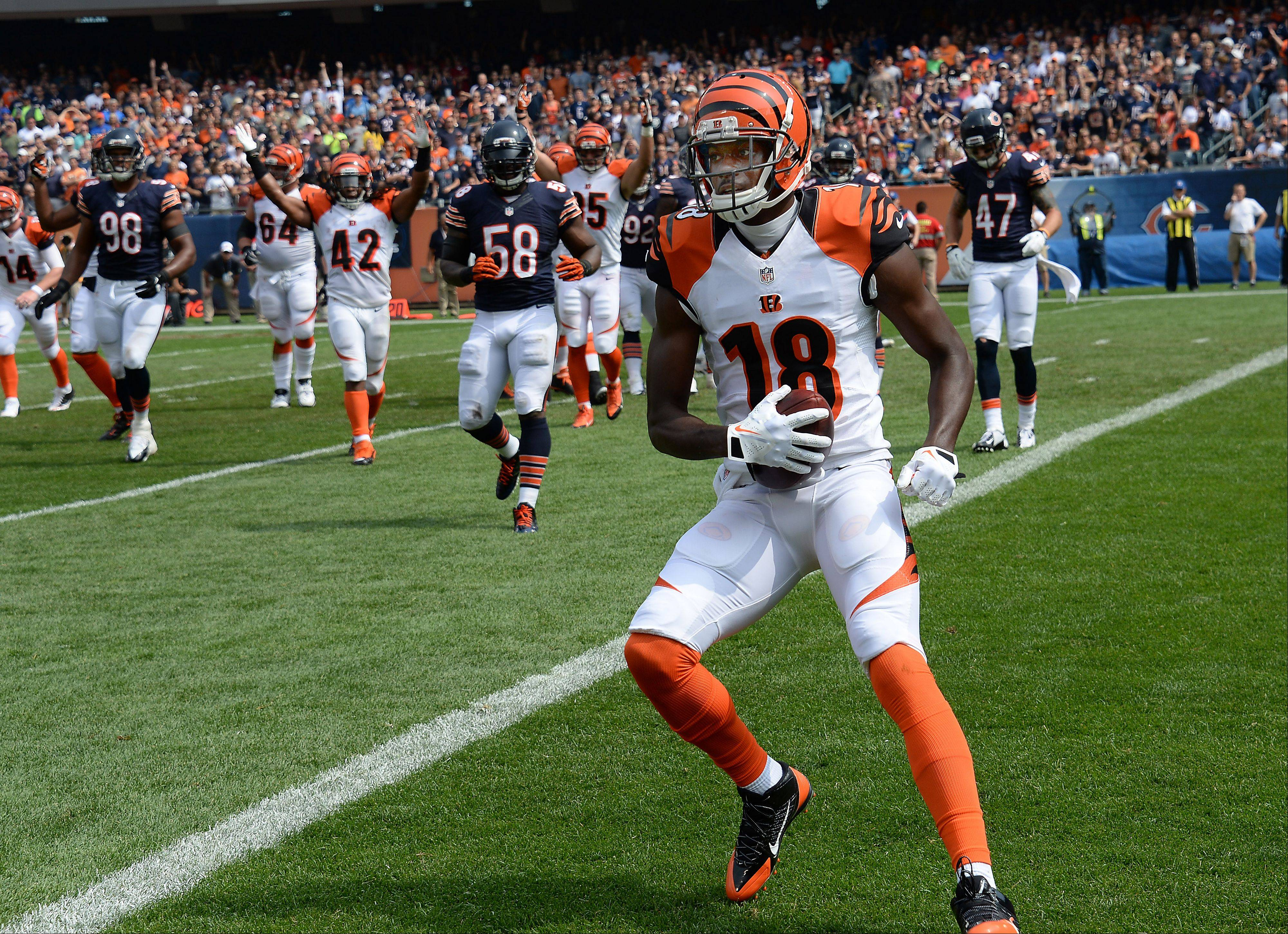 Chicago Bears defense breaks down on this touchdown by Cincinnati Bengals A.J. Green in the season opener at Soldier Field in Chicago on Sunday.