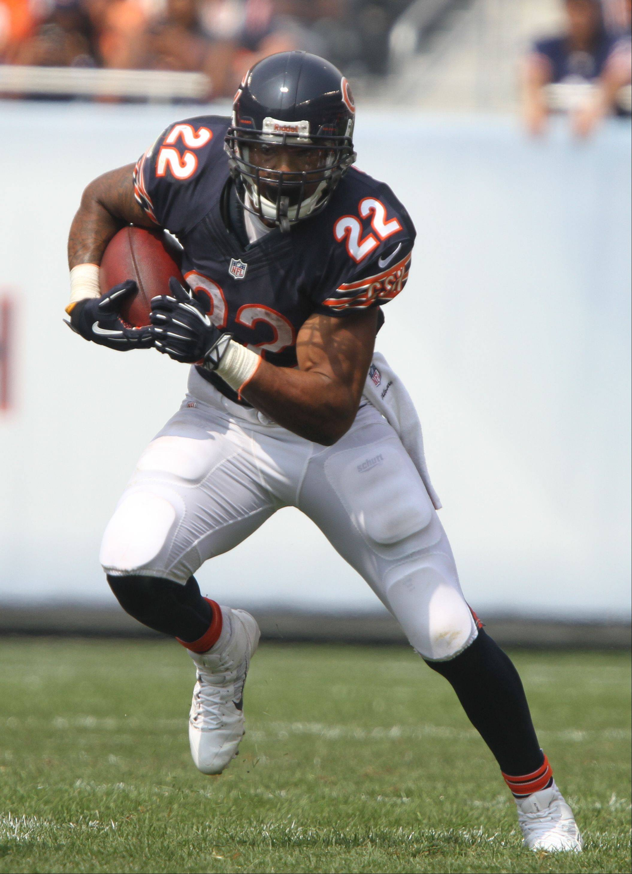 Chicago Bears running back Matt Forte looks for an opening during their opening day game against the Cincinnati Bengals Sunday at Soldier Field in Chicago.