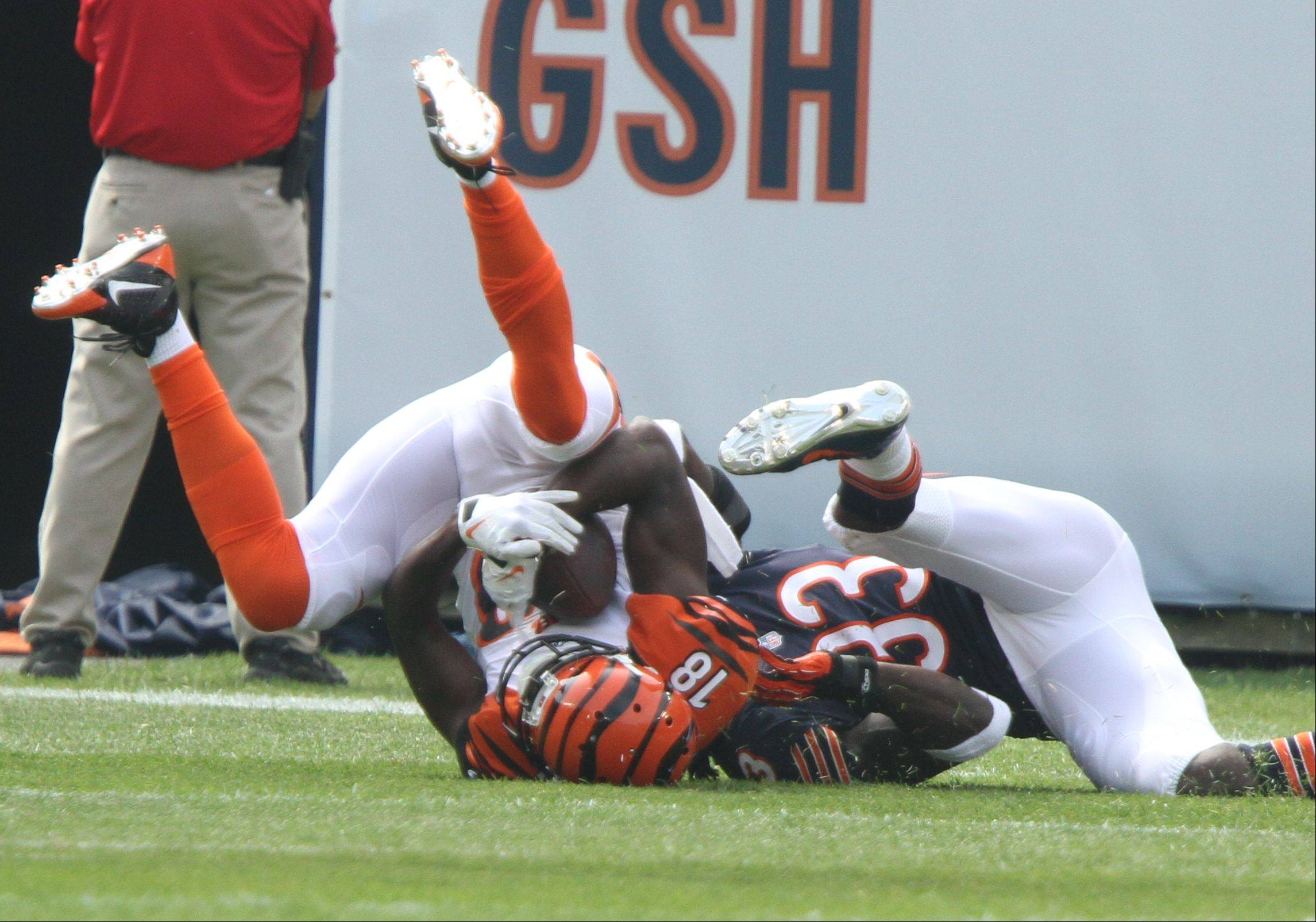 Cincinnati Bengals wide receiver A.J. Green makes a catch on Chicago Bears cornerback Charles Tillman Sunday at Soldier Field in Chicago.