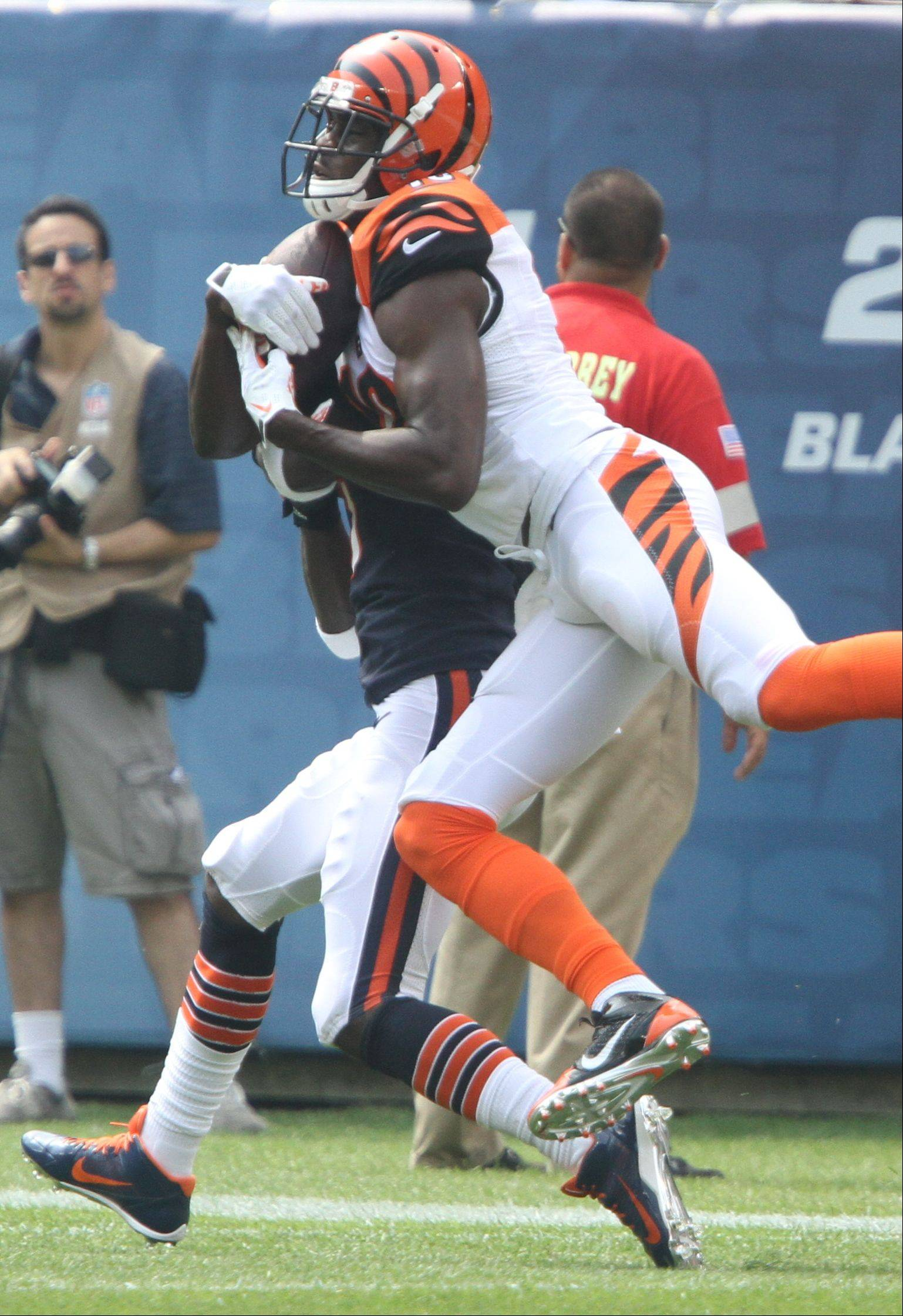 Cincinnati Bengals wide receiver A.J. Green makes a catch during the Bears opening day game against the Cincinnati Bengals Sunday at Soldier Field in Chicago.
