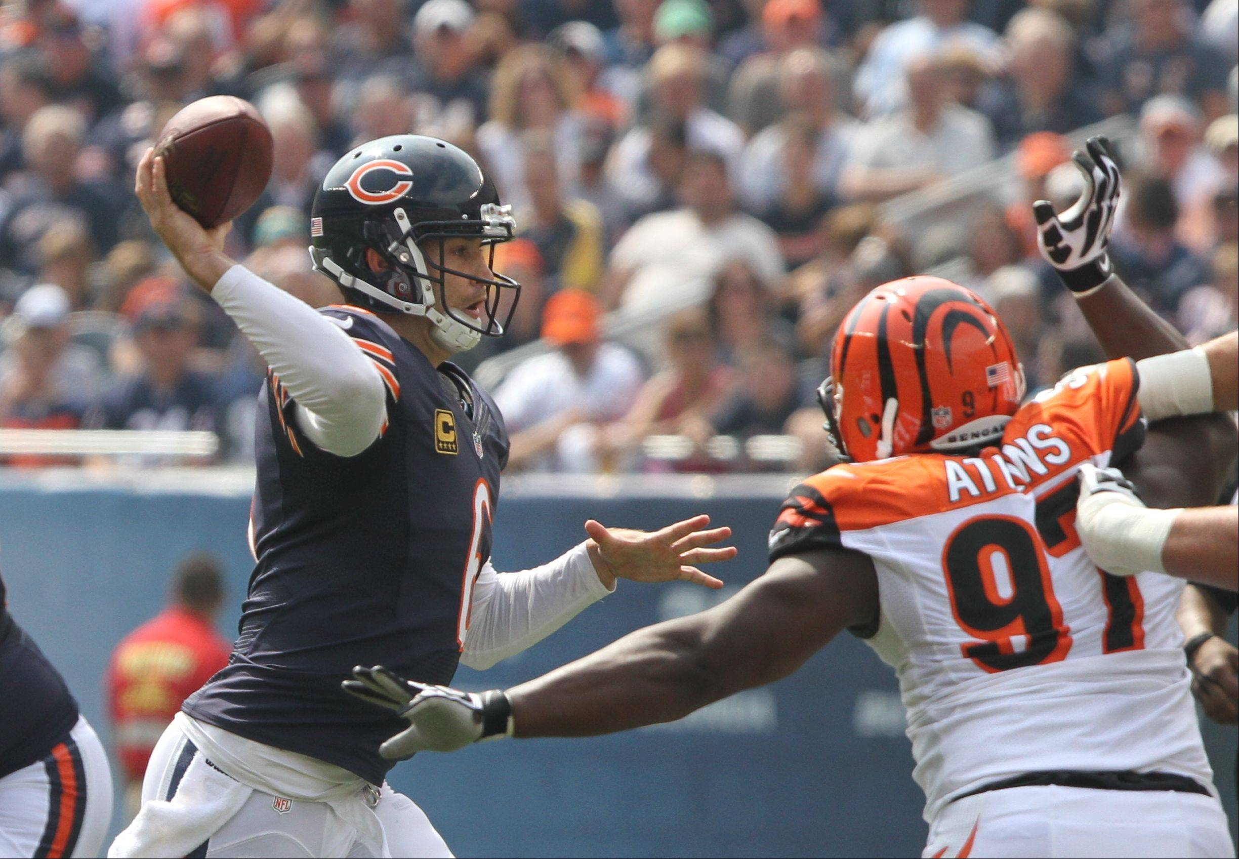 Chicago Bears quarterback Jay Cutler throws during their opening day game against the Cincinnati Bengals Sunday at Soldier Field in Chicago.