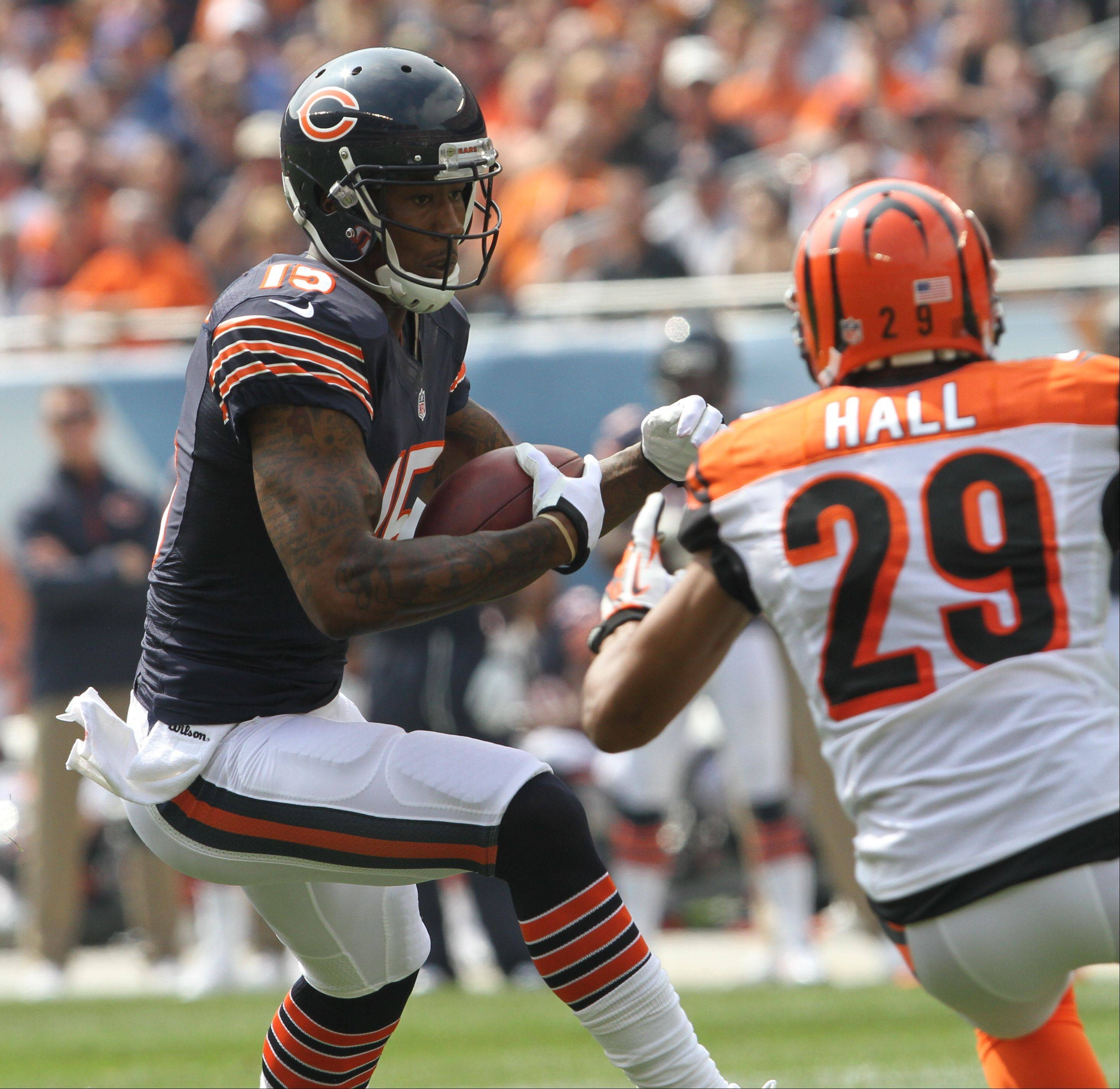 Chicago Bears wide receiver Brandon Marshall runs after a catch during their opening day game against the Cincinnati Bengals Sunday at Soldier Field in Chicago.