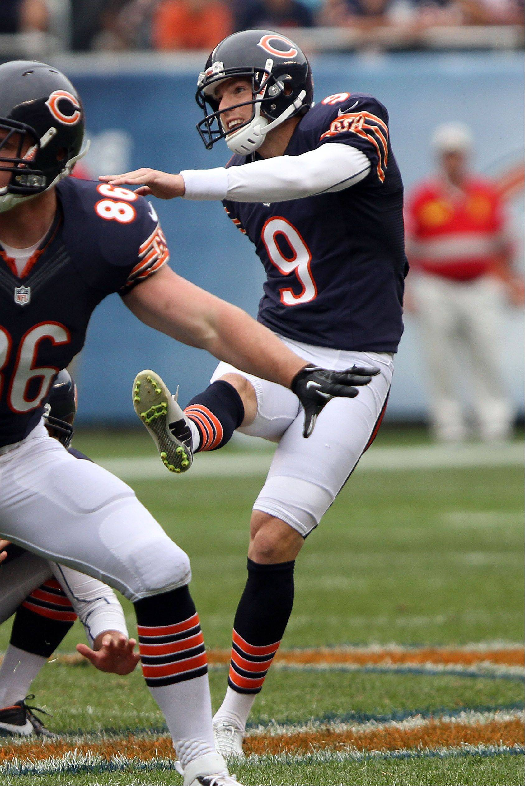 Chicago Bears kicker Robbie Gould kicks a 58 yard field goal during their opening day win over the Bengals Sunday at Soldier Field in Chicago.