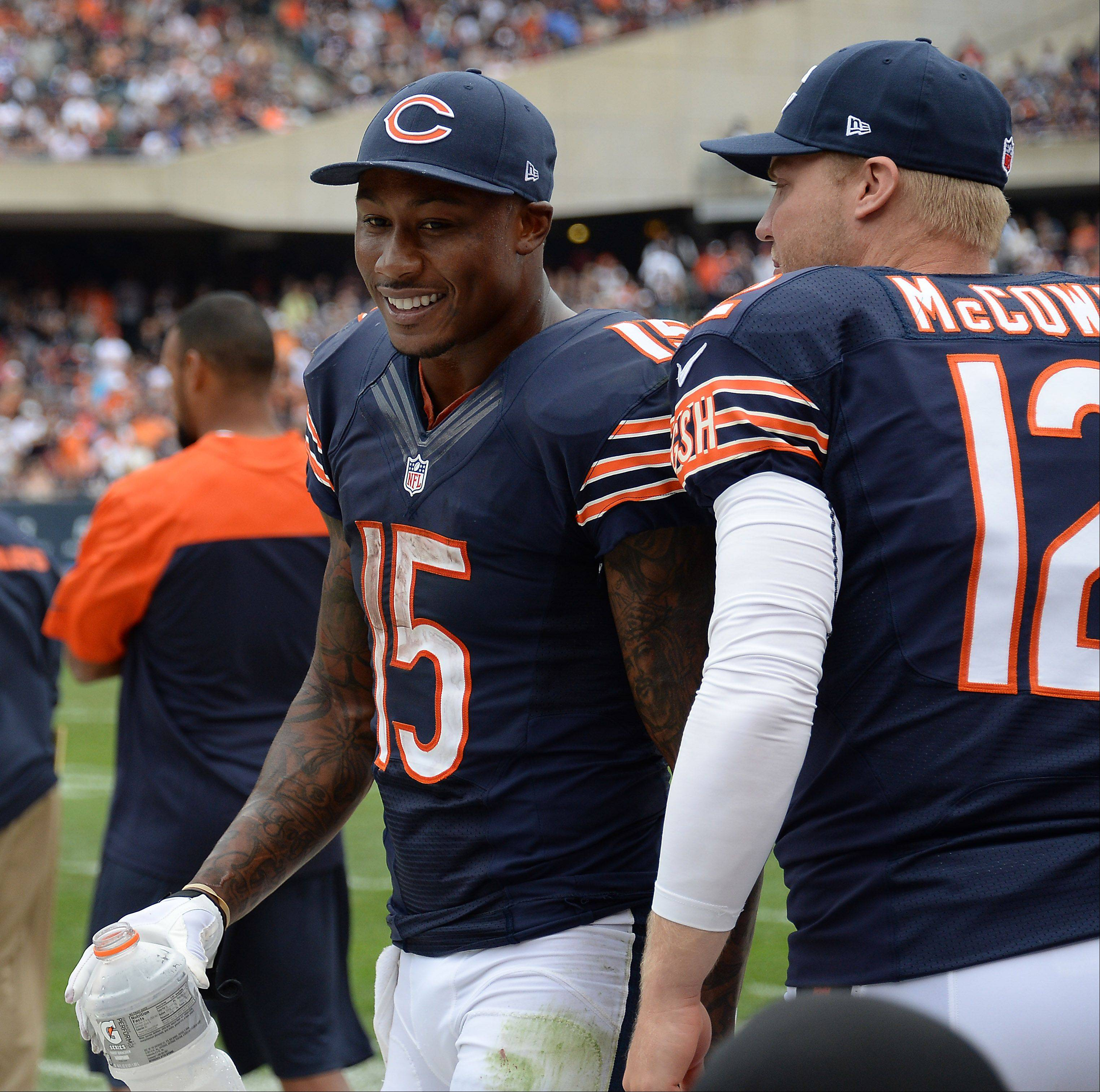 Chicago Bears Brandon Marshall is all smiles on the sidelines after scoring his second half touchdown in the season opener against the Cincinnati Bengals at Soldier Field in Chicago.