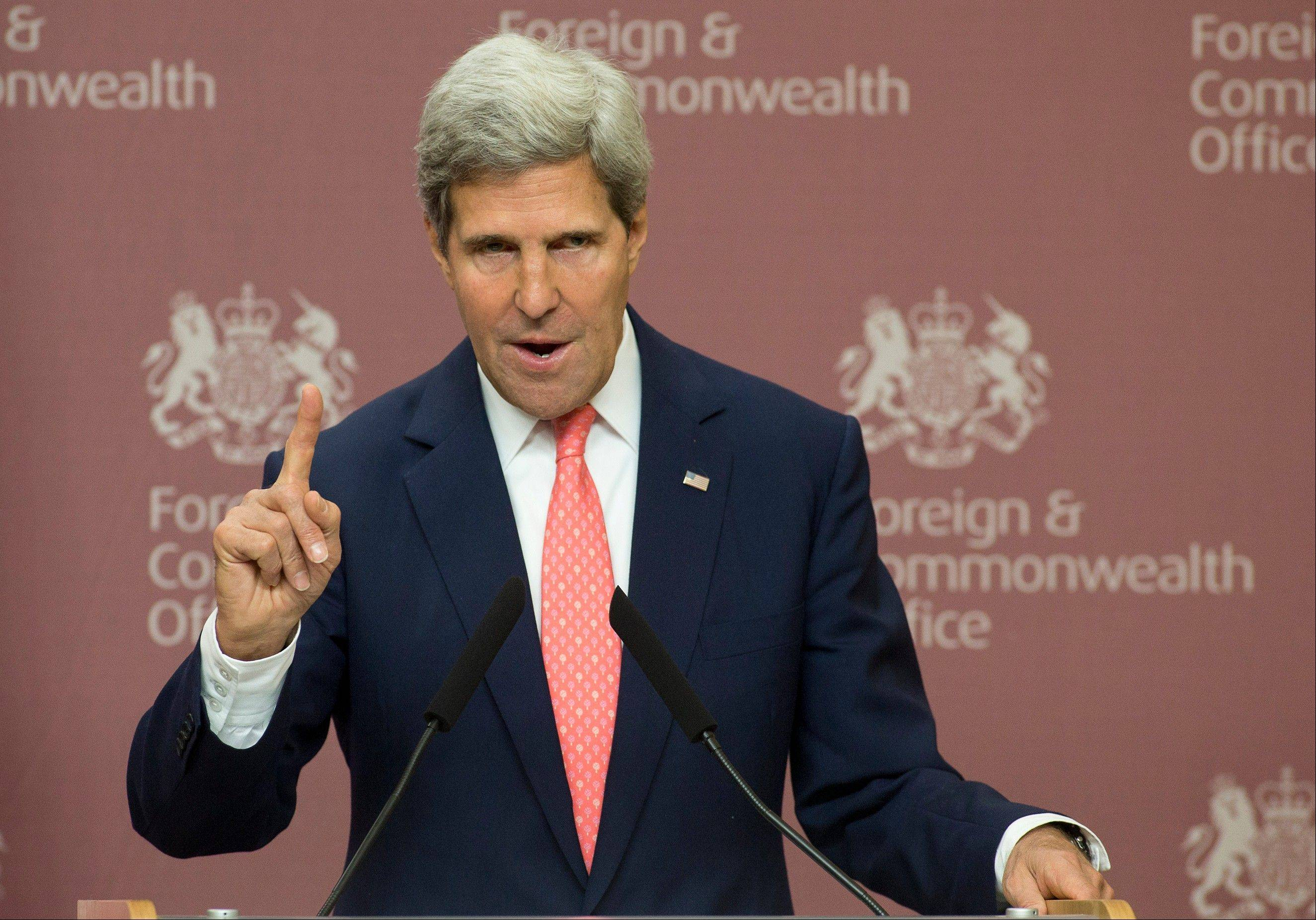 "Secretary of State John Kerry, speaking in London on Monday, said Syrian leader Bashar Assad could resolve the crisis over chemical weaponry use in Syria by turning over ""every single bit"" of his weapons arsenal to the international community within a week."