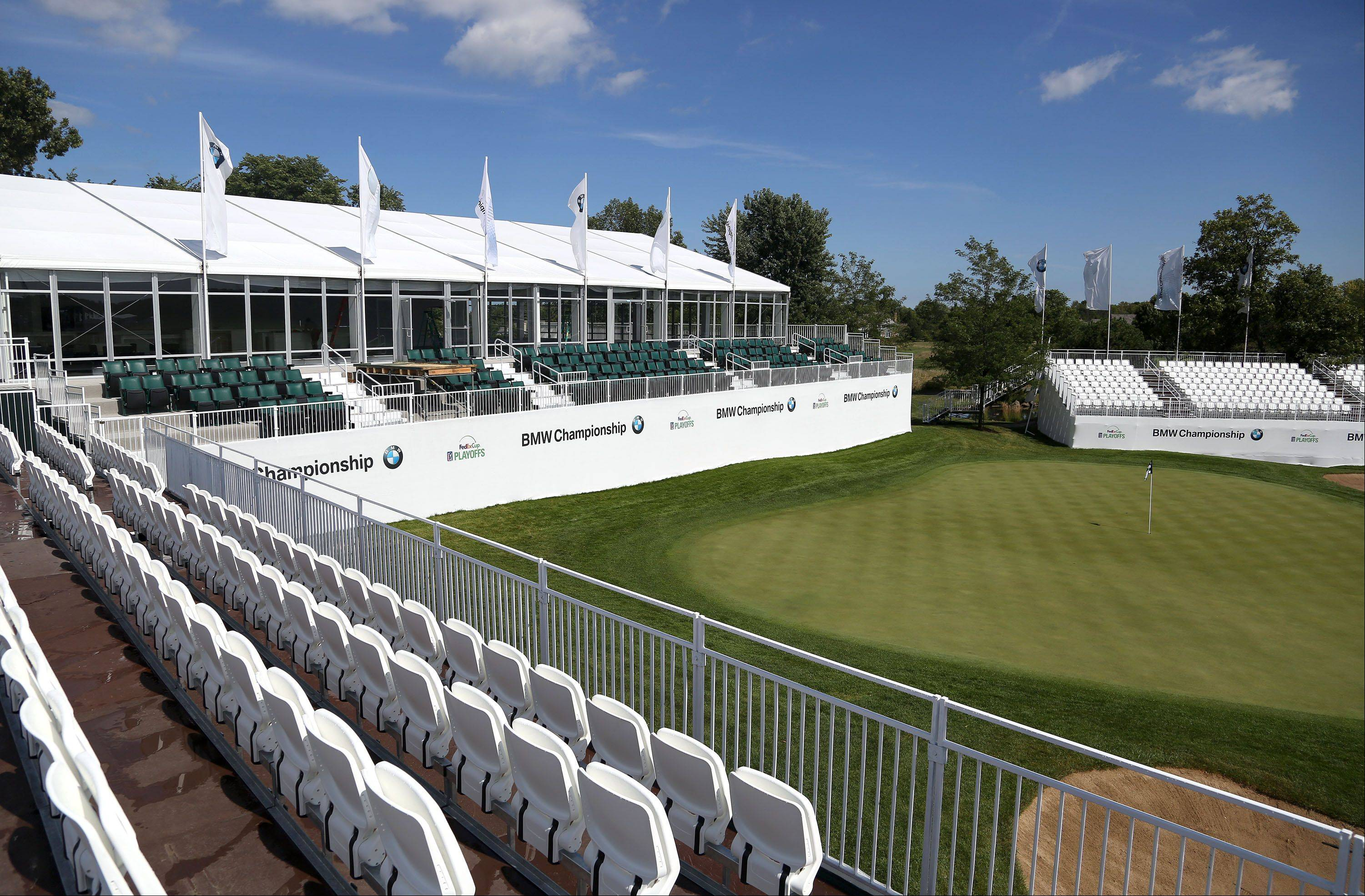 A corporate hospitality chalet offers a prime view of the 18th green at Conway Farms in Lake Forest in advance of the BMW Championship tournament, which kicks off Thursday.