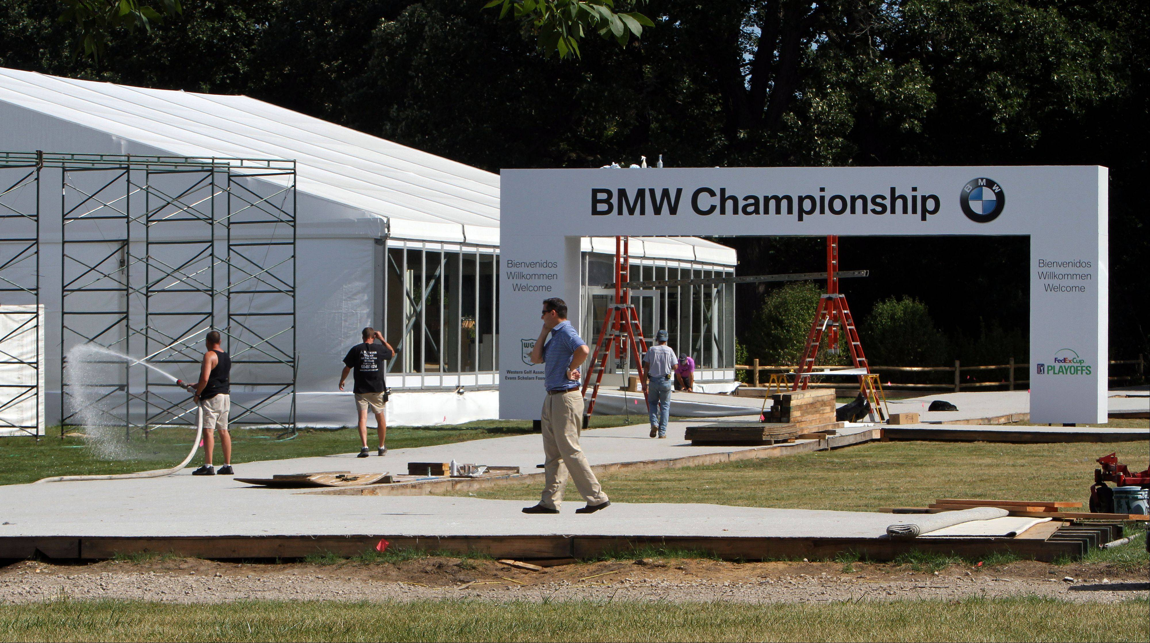 The entrance to the BMW Championship at Conway Farms in Lake Forest is taking shape. The four-day tournament begins Thursday.