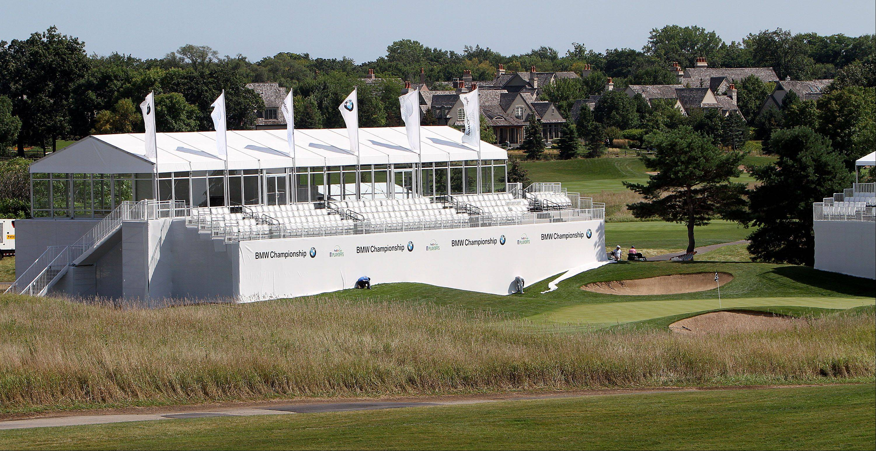 A hospitality chalet sits on the 15th green at Conway Farms in Lake Forest in advance of the BMW Championship. The suites will have climate-controlled interiors, food and bar service, and TVs.