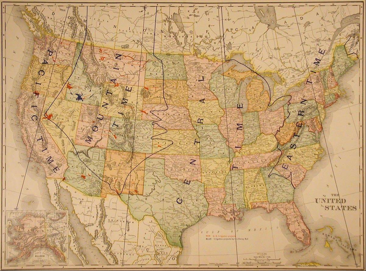 An antique Rand McNally map from 1884 varies greatly from today's time zone map.