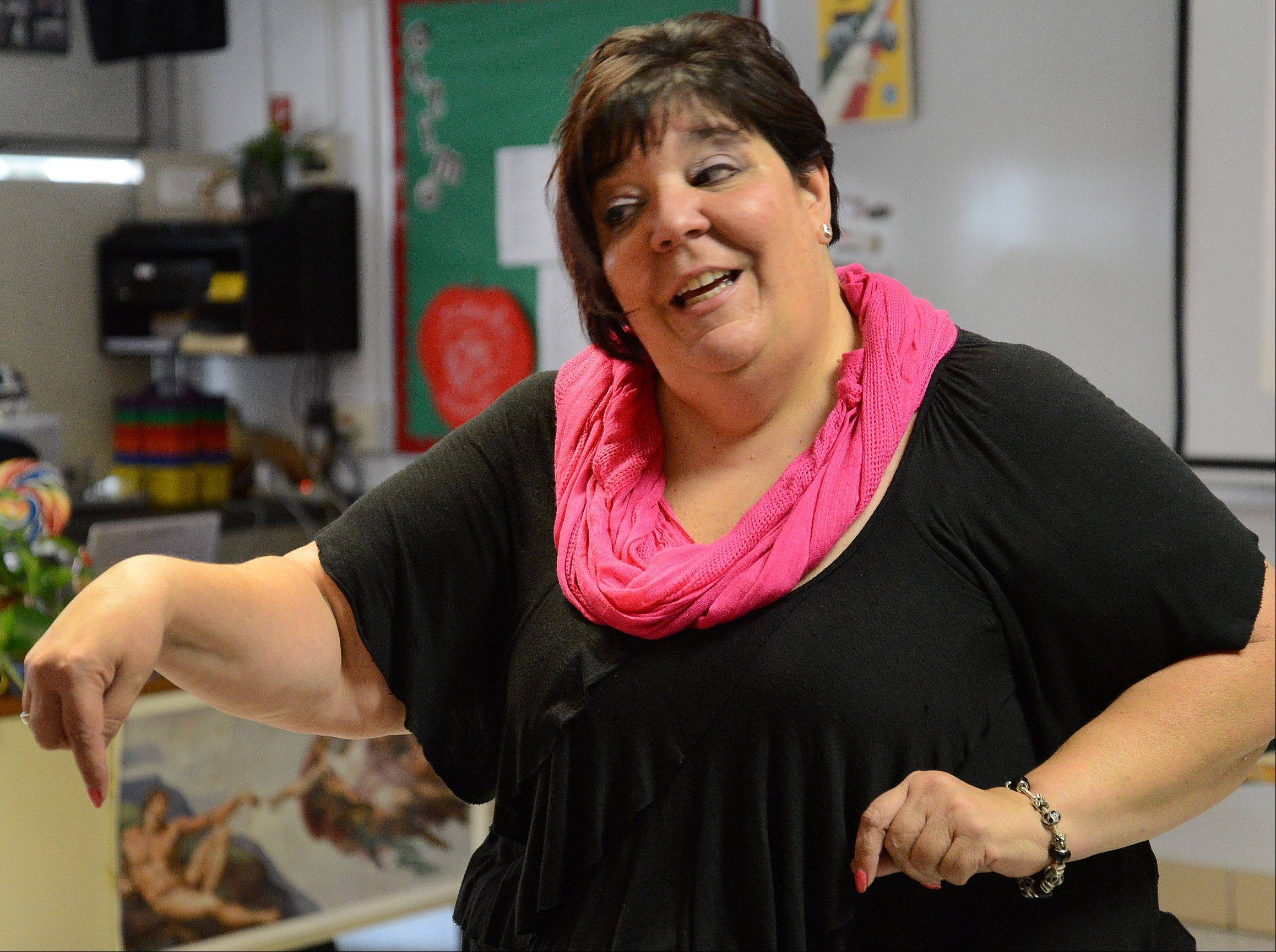 Lyn Scolaro in her Italian 1 class at Prospect High School.