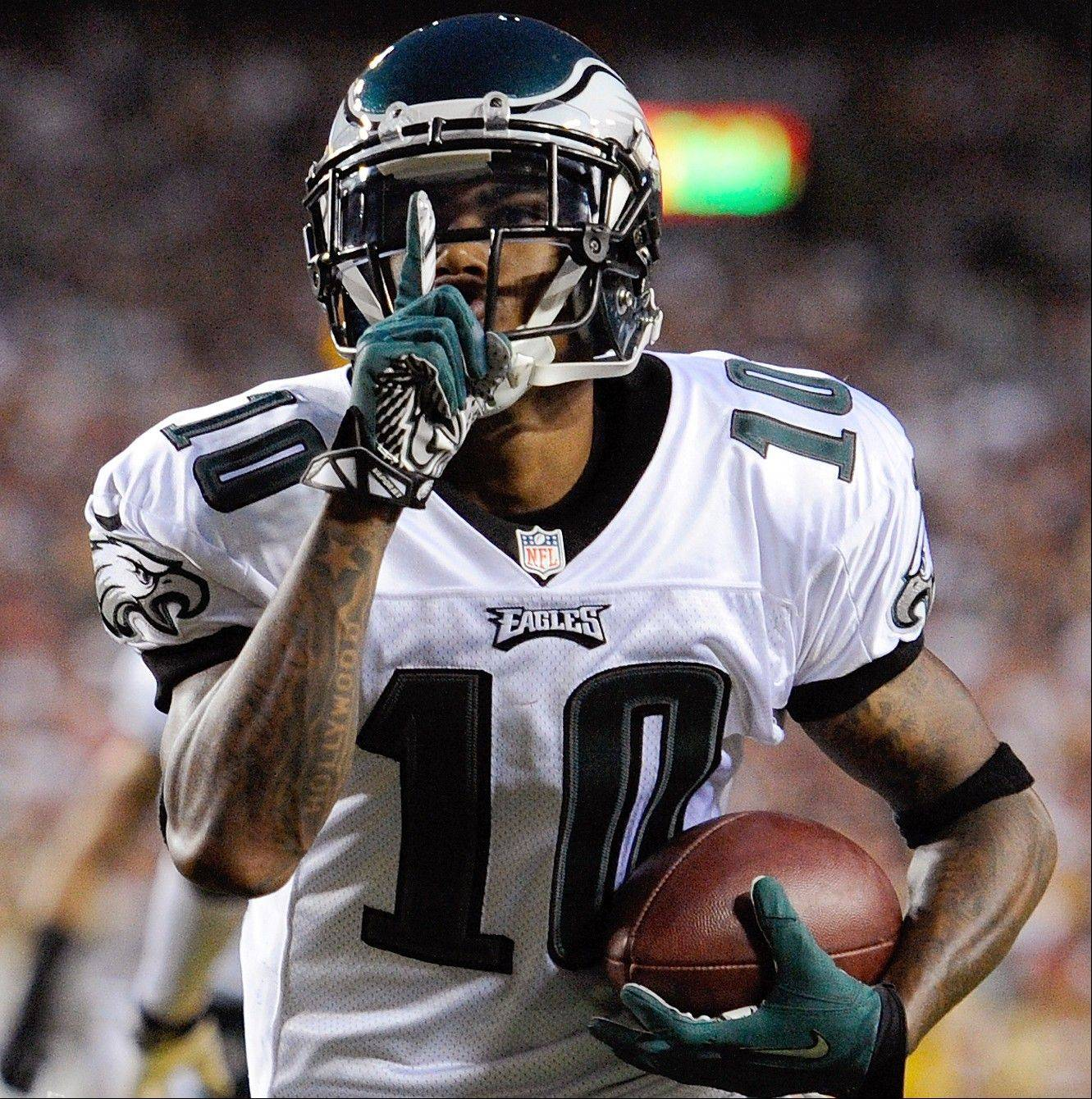Philadelphia Eagles wide receiver DeSean Jackson celebrates his touchdown during the first half Monday against the Washington Redskins in Landover, Md.