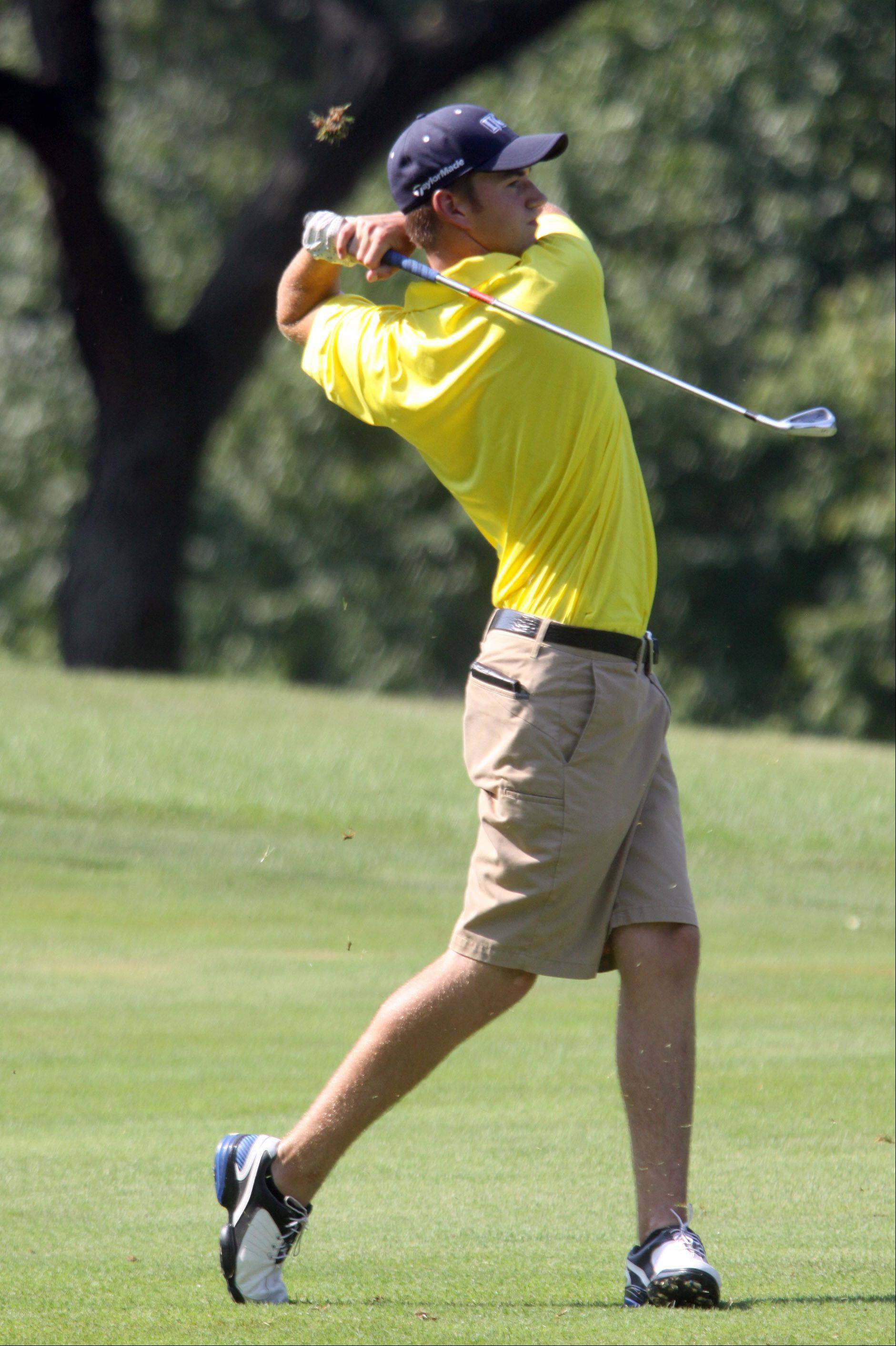 Fremd's Jamie Drost hits from the fairway on No. 11 at Inverness Golf Club on Monday afternoon.