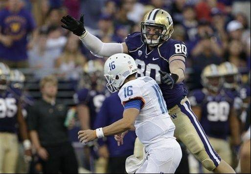 Washington's Evan Hudson pressures Boise State quarterback Joe Southwick in the first half of a 38-6 Huskies victory Aug. 31 in Seattle.