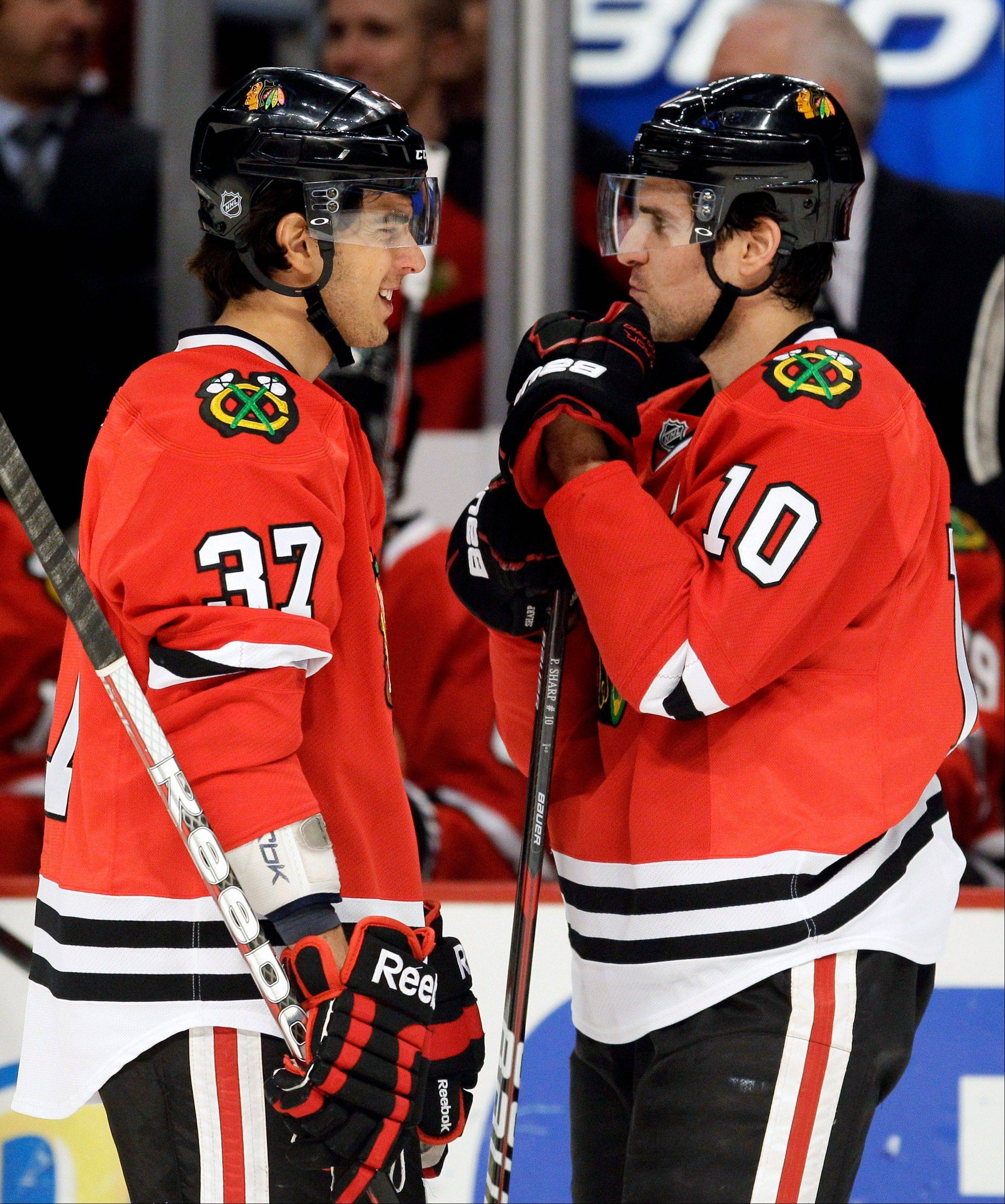 Brandon Pirri (37), led the AHL in scoring last season at Rockford and is expected to compete for the second-line center spot when the Blackhawks and veteran Patrick Sharp (10) open training camp on Thursday in South Bend, Ind.