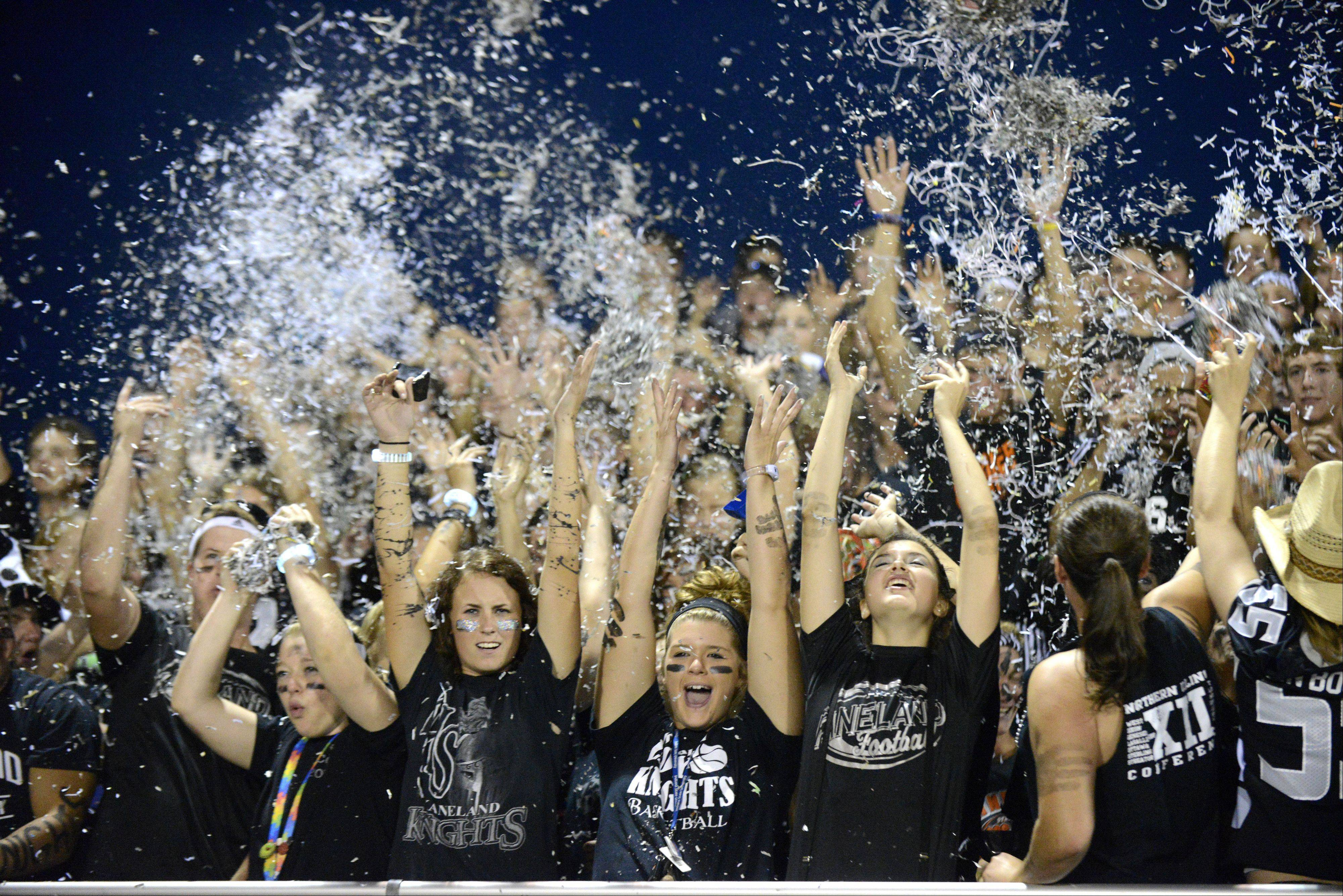 Kaneland fans cheering on their team during Friday's football game against IC Catholic Prep.