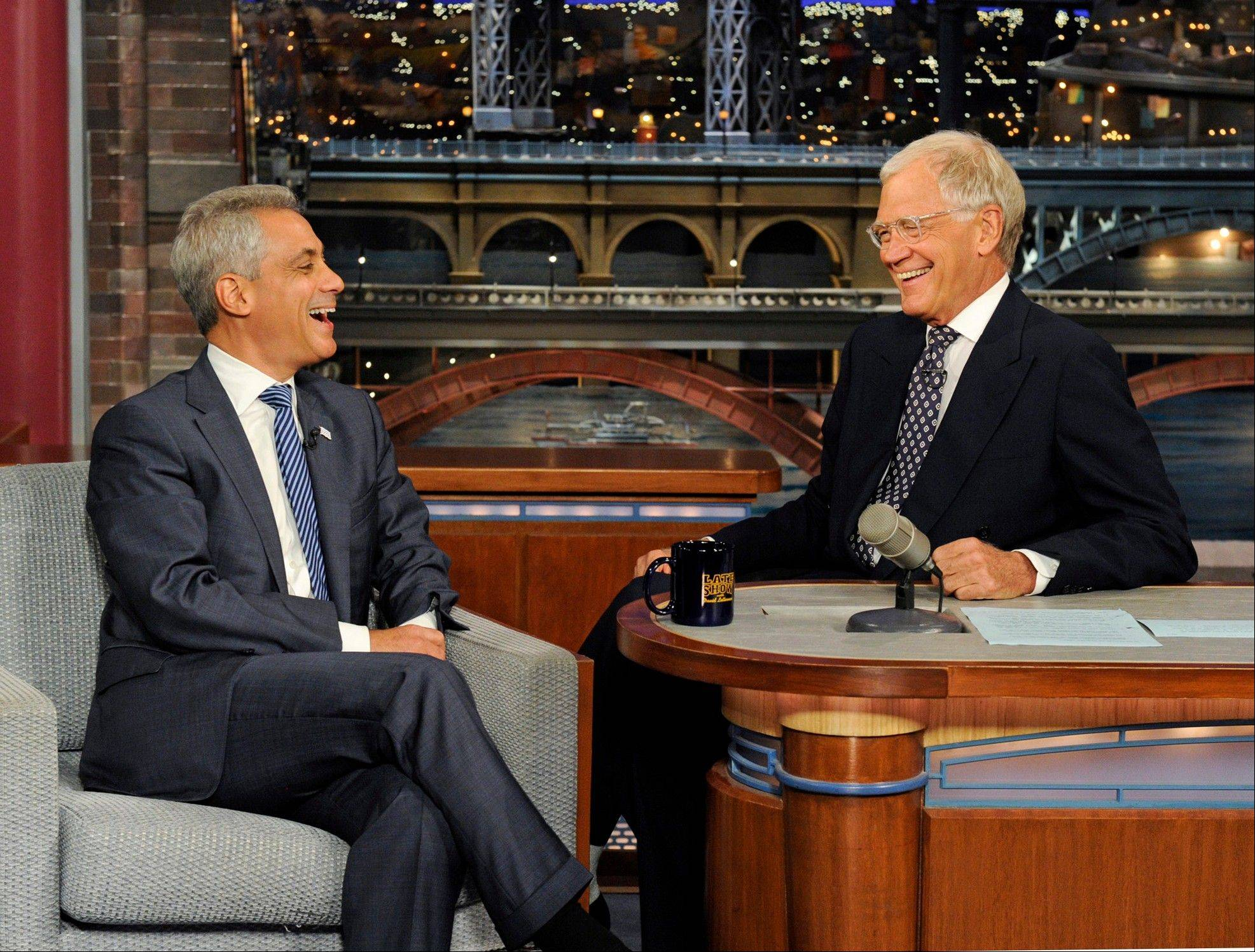 "Chicago Mayor Rahm Emanuel, left, laughs with late-night talk show host David Letterman during taping for the ""Late Show with David Letterman."" Emanuel is part of the upcoming documentary, ""The President's Gatekeepers,"" a two-part Discovery Channel special."