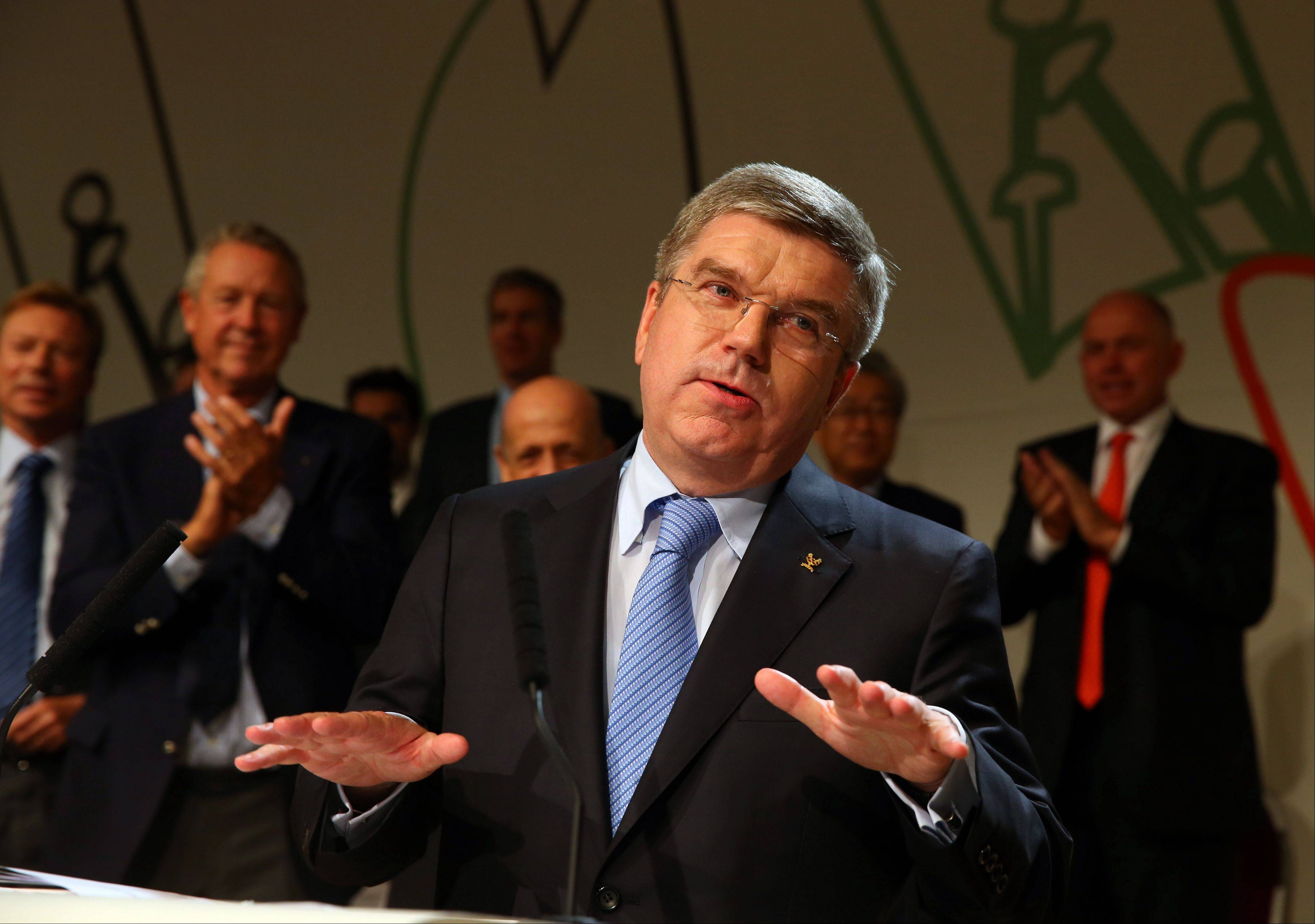 Thomas Bach, of Germany, speaks after being elected the new IOC president during the 125th IOC session in Buenos Aires, Argentina, Tuesday, Sept. 10, 2013.