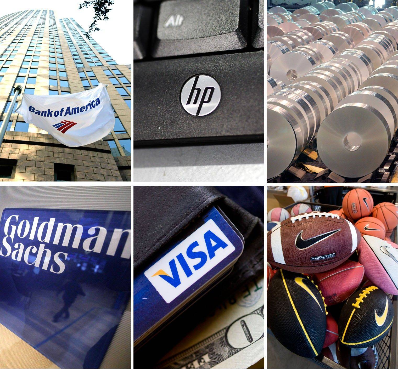 From top left are a Bank of America building in Charlotte N.C.; a Hewlett Packard keyboard; large rolls of aluminum at the Alcoa Warrick Operations in Newburgh, Ind.; traders working in the Goldman Sachs booth on the floor of the New York Stock Exchange; a wallet containing a Visa card; and the Nike factory outlet store in Park City, Utah. The Dow Jones industrial average announced Tuesday it will drop drop Bank of America, Hewlett-Packard and Alcoa, its three lowest-priced stocks, and replace them with Goldman Sachs, Nike, and Visa.
