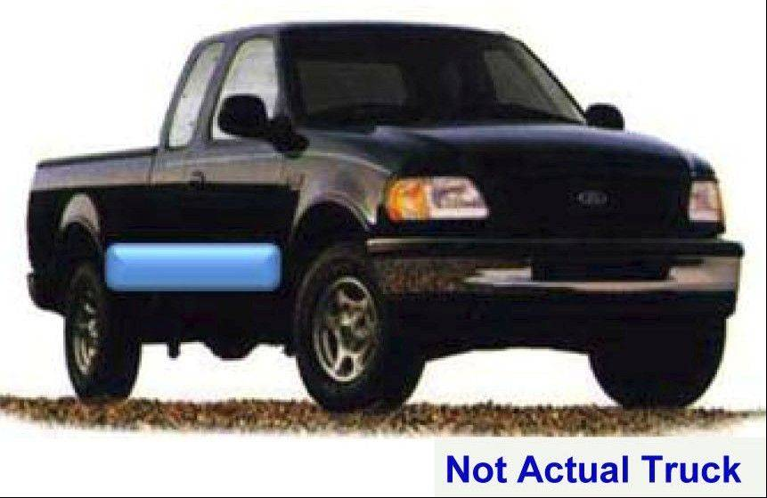 A black Ford F150 with a distinctive blue stripe similar to the one pictured has been seen in the area of the recent sewer grate thefts in West Chicago.