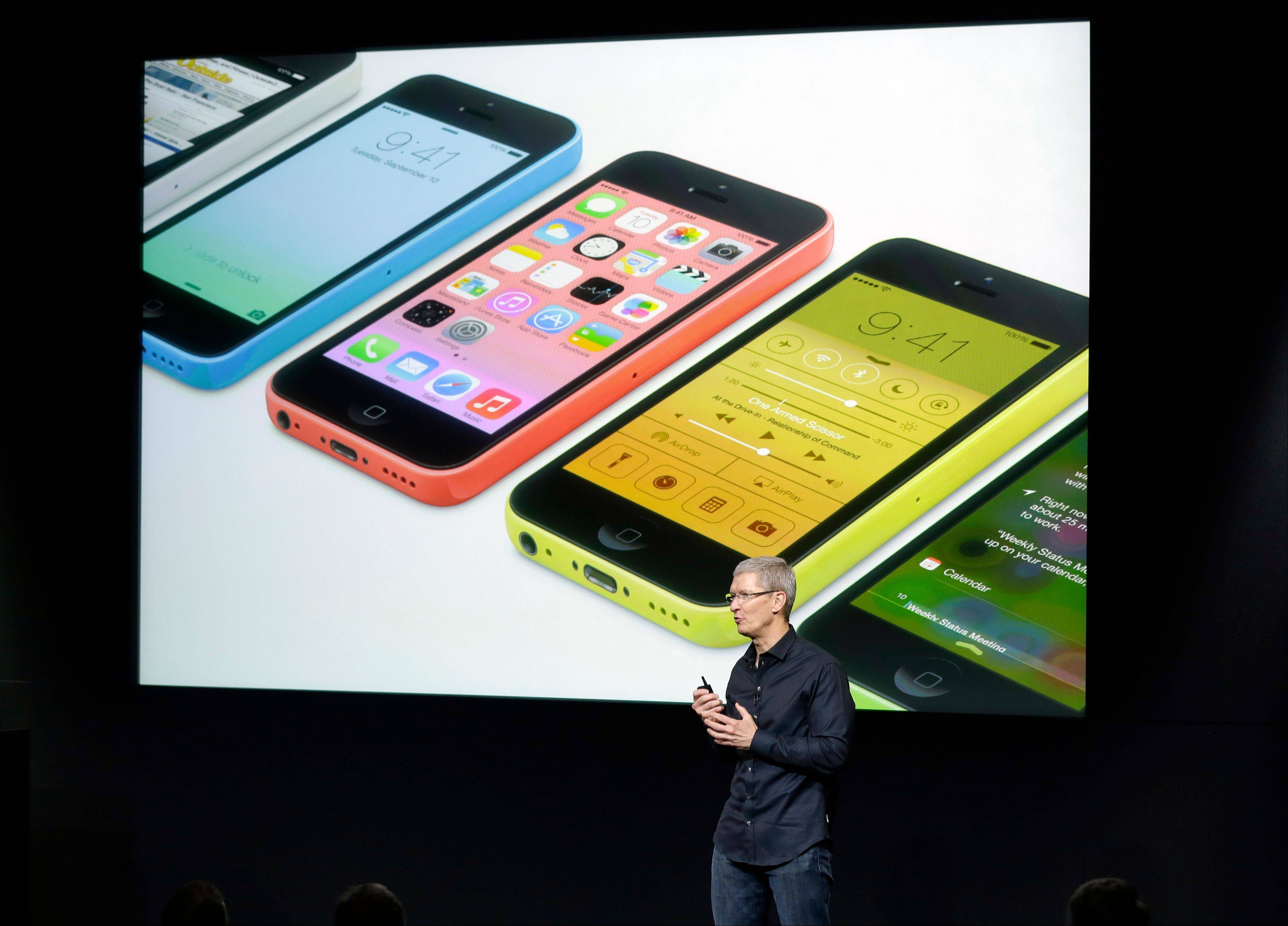 Tim Cook, CEO of Apple, speaks on stage during the introduction of the new iPhone 5c in Cupertino, Calif., Tuesday, Sept. 10, 2013.