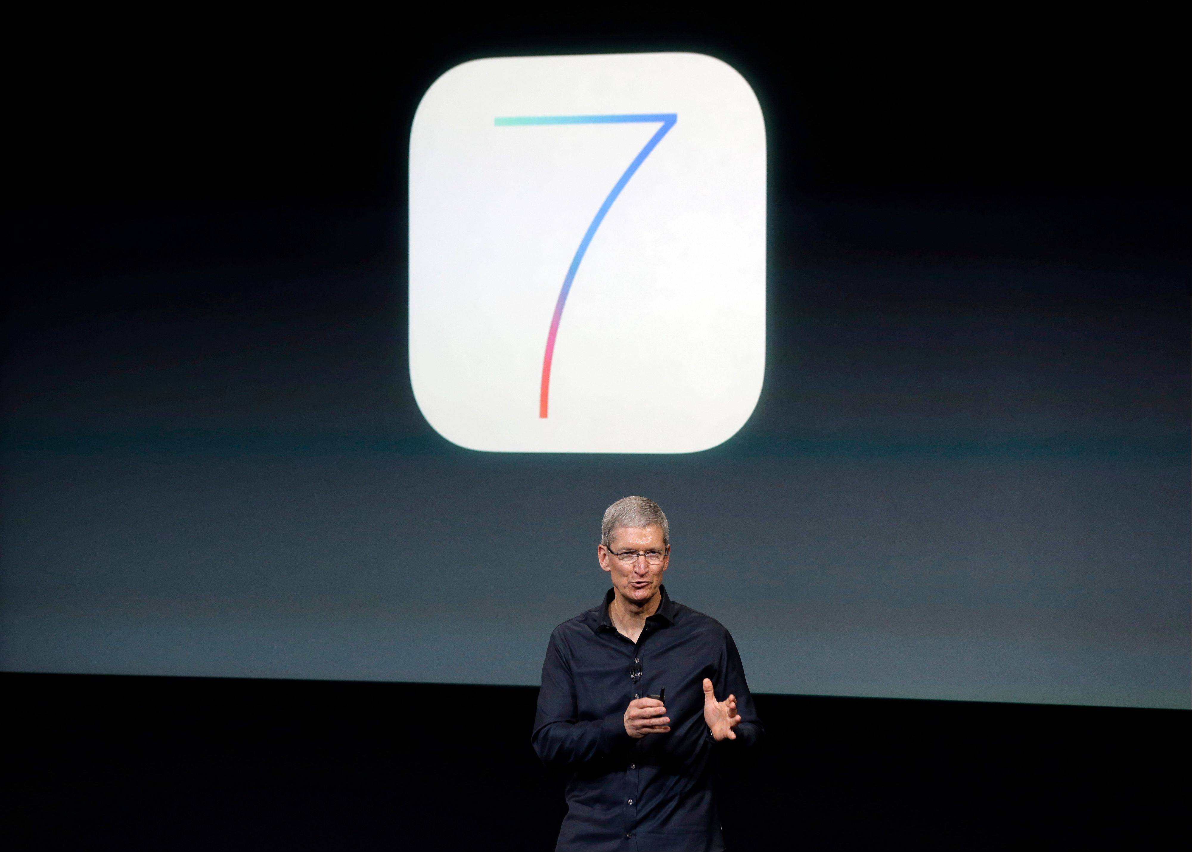 Tim Cook, CEO of Apple, speaks during the new product release in Cupertino, Calif., Tuesday, Sept. 10, 2013. Apple�s latest iPhones will come in a bevy of colors and two distinct designs, one made of plastic and the other that aims to be �the gold standard of smartphones and reads your fingerprint.