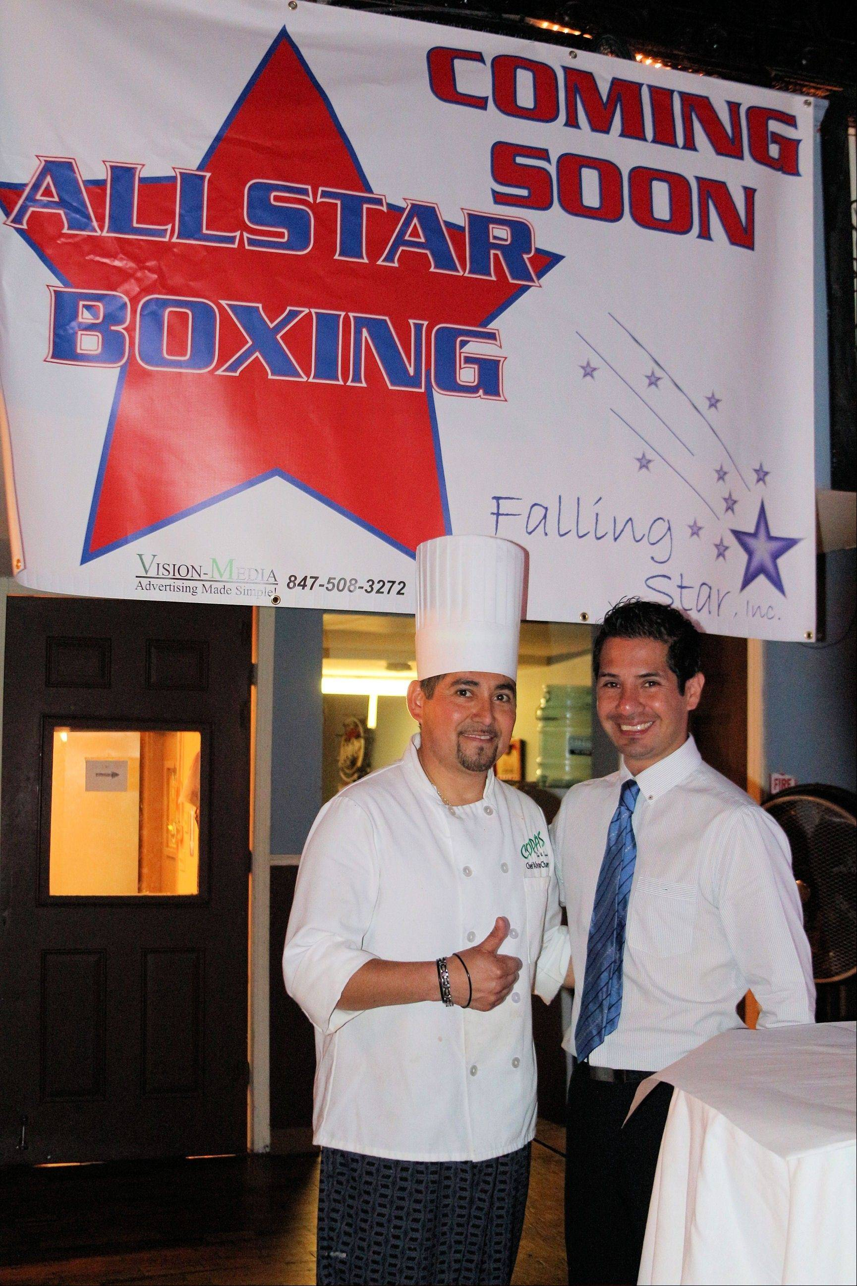 Jose Hernandez Jr. and Chef Alvaro Chavez at the fundraiser for Hernandez' Falling Stars organization hosted by Copas Bar and Grill.