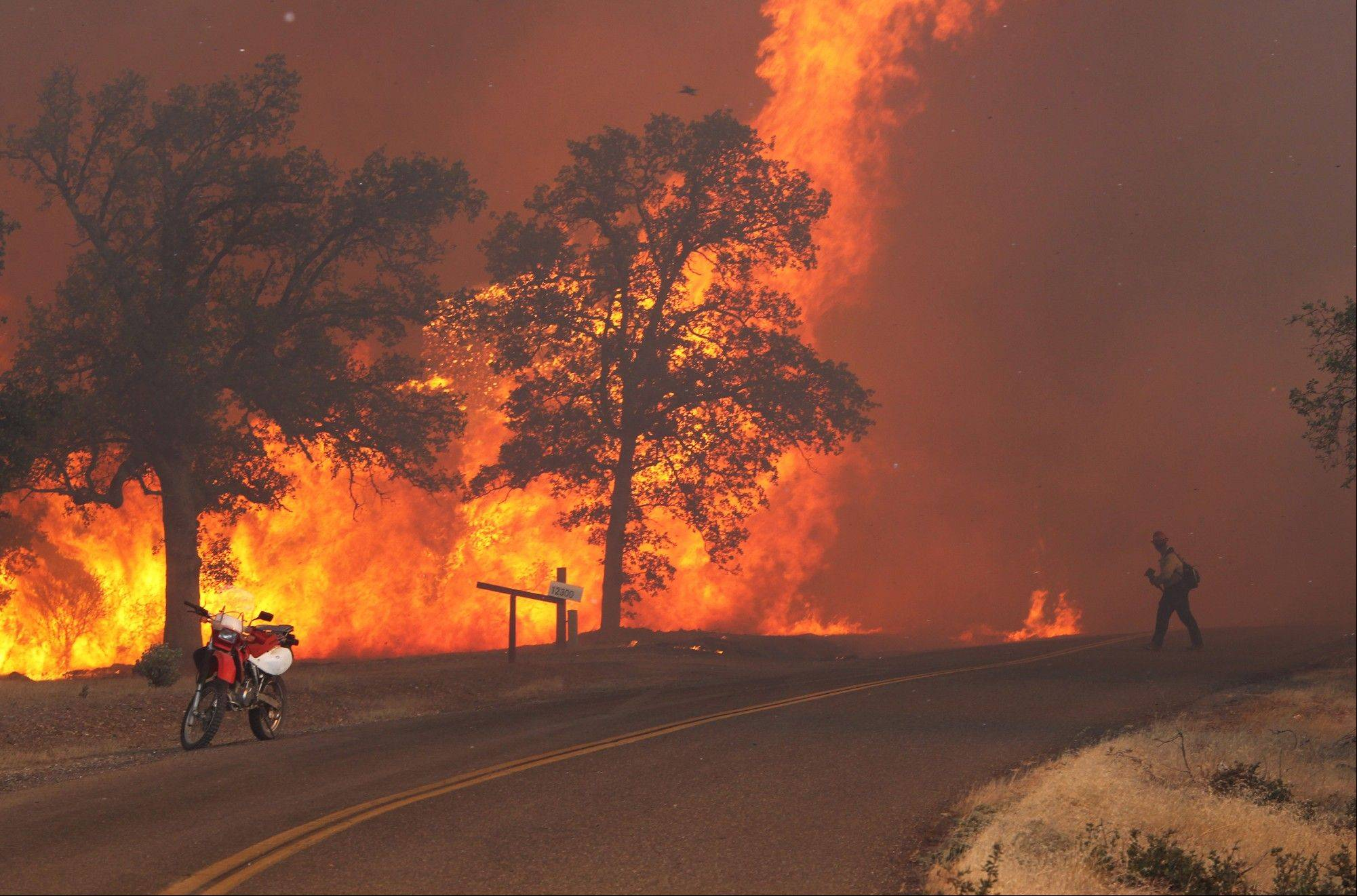 A firefighter works the Clover Fire in Anderson, Calif., on Monday, Sept. 9, 2013, on Gas Point Road. The fire destroyed at least 30 buildings, officials said Tuesday.