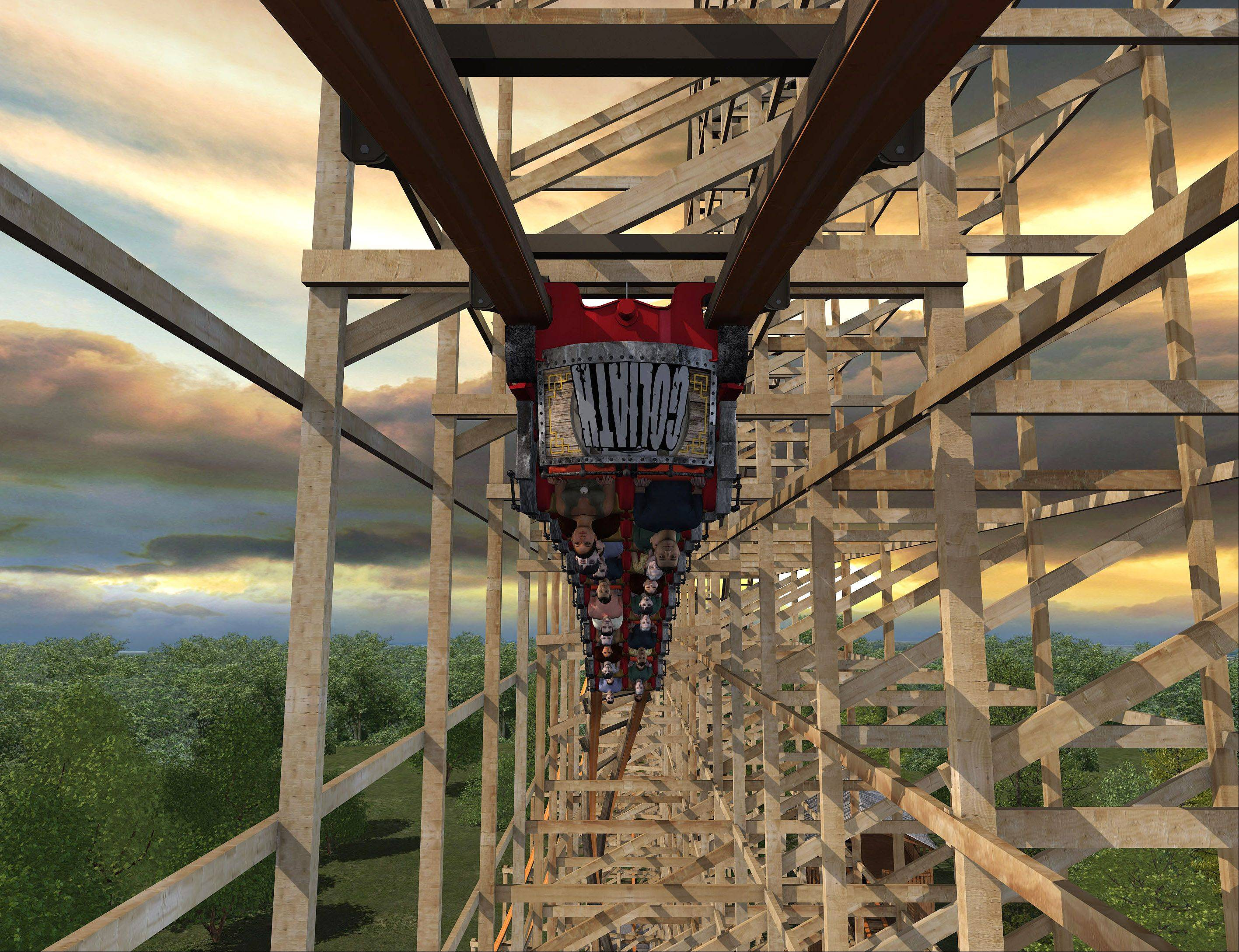 Riders will go upside down on the new Goliath wooden roller coaster planned for Six Flags Great America in Gurnee. The Gurnee village board on Monday formally approved Six Flags' plans to build the coaster.