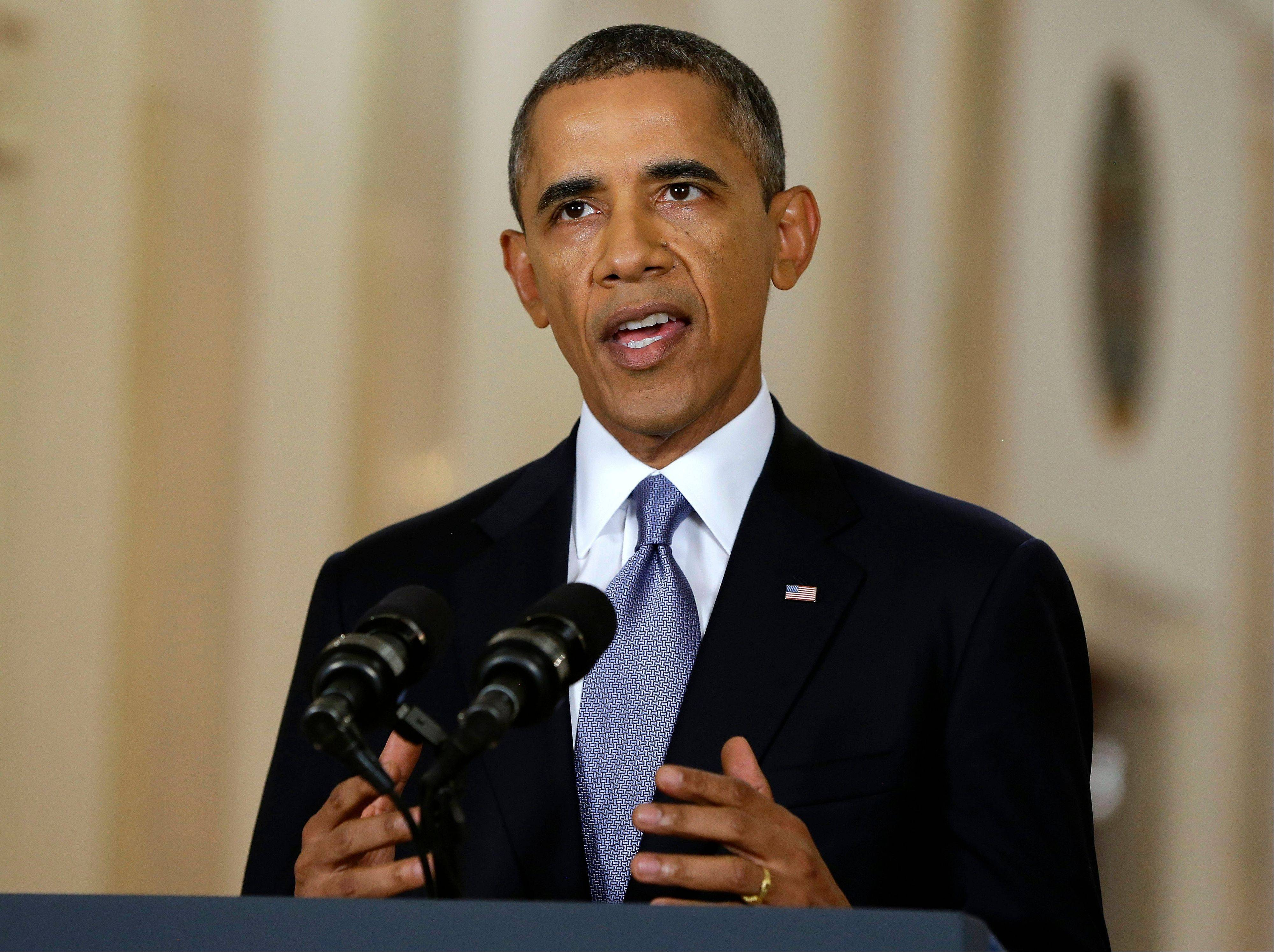 President Barack Obama, addressing the nation in a live televised speech from the East Room of the White House Tuesday, blended the threat of military action with the hope of a diplomatic solution as he works to strip Syria of its chemical weapons.