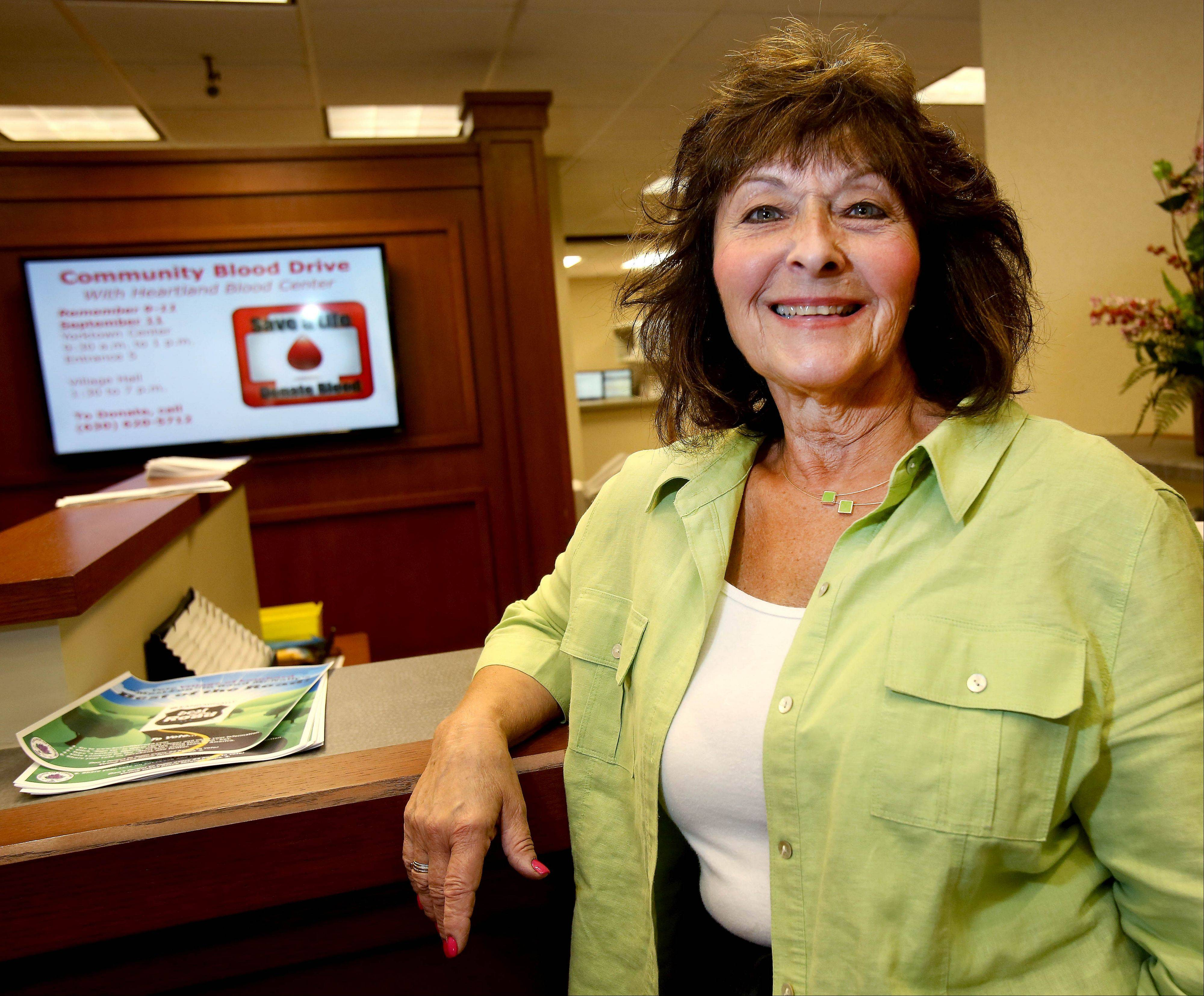 A 47-year employee of the village of Lombard, Carol Bauer has coordinated its blood drives for 20 years, during which time donations have grown from double to triple digits.
