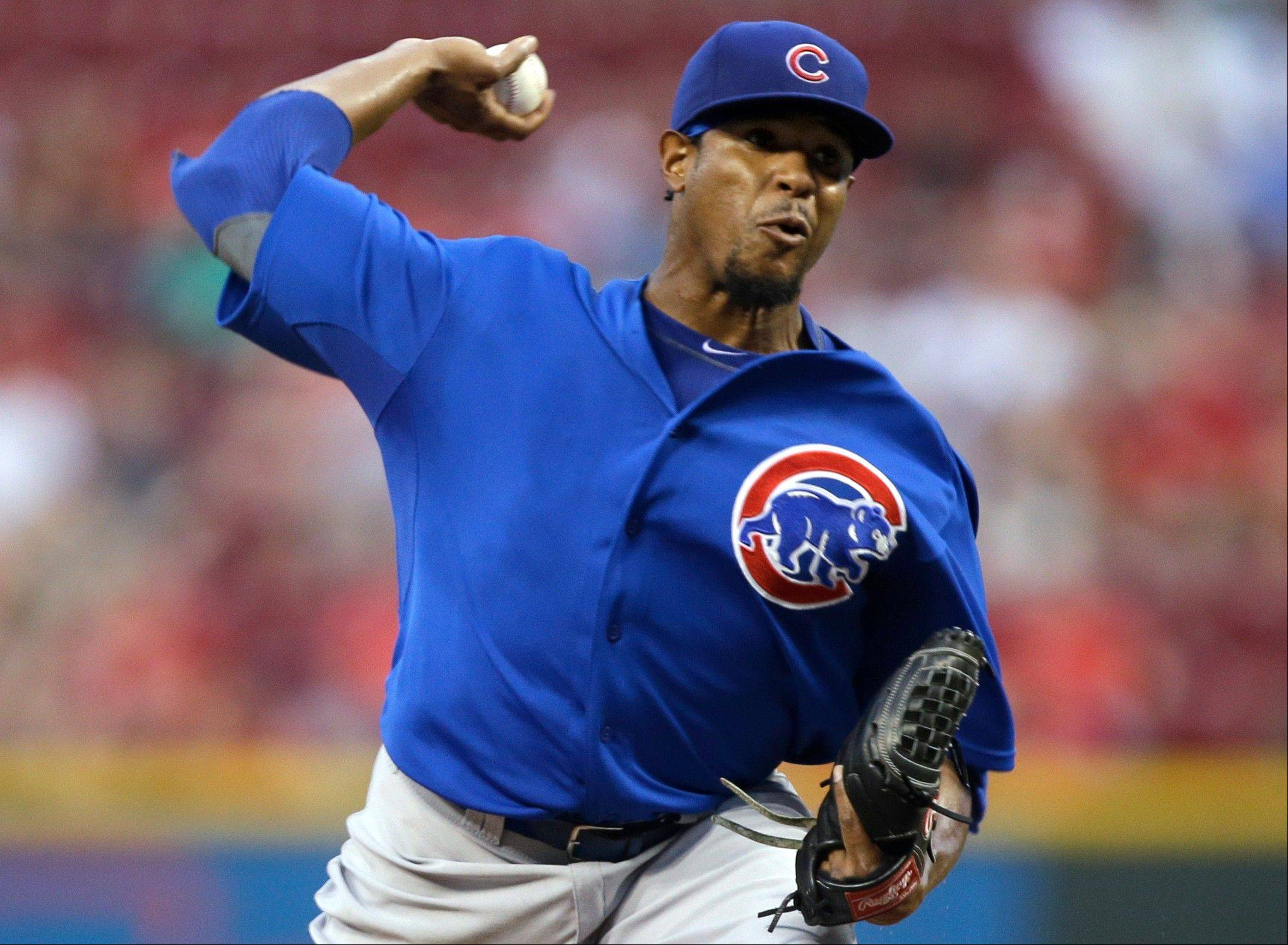 Cubs starting pitcher Edwin Jackson got the victory over the Reds on Tuesday night and also helped his own cause by hitting a home run.