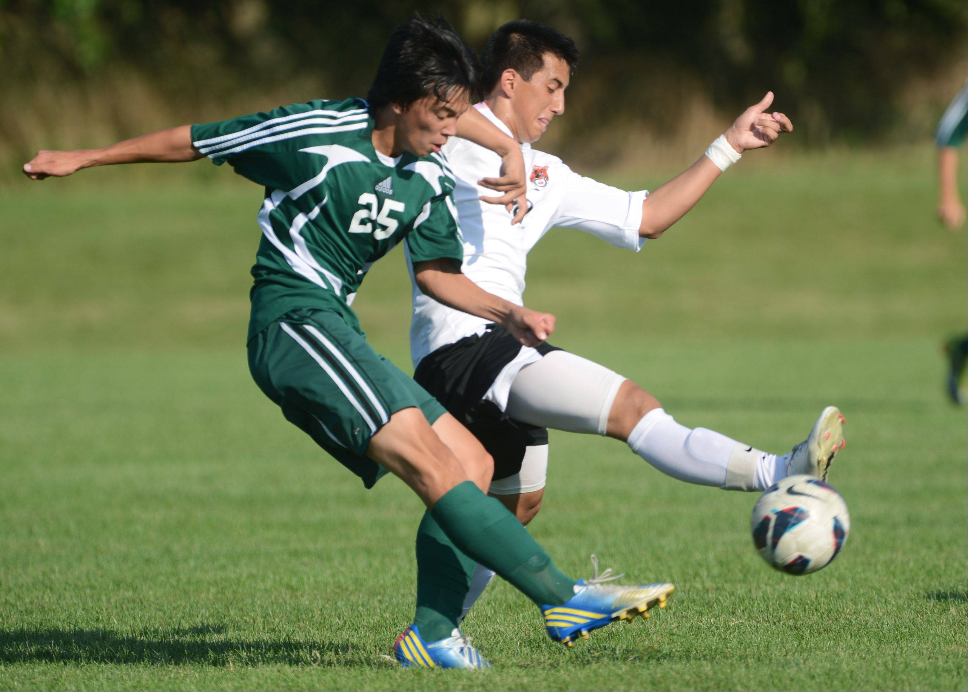 Stevenson's Cobi Illian (25) and Libertyville's Carlos Schultz chase down the ball Tuesday in Libertyville.