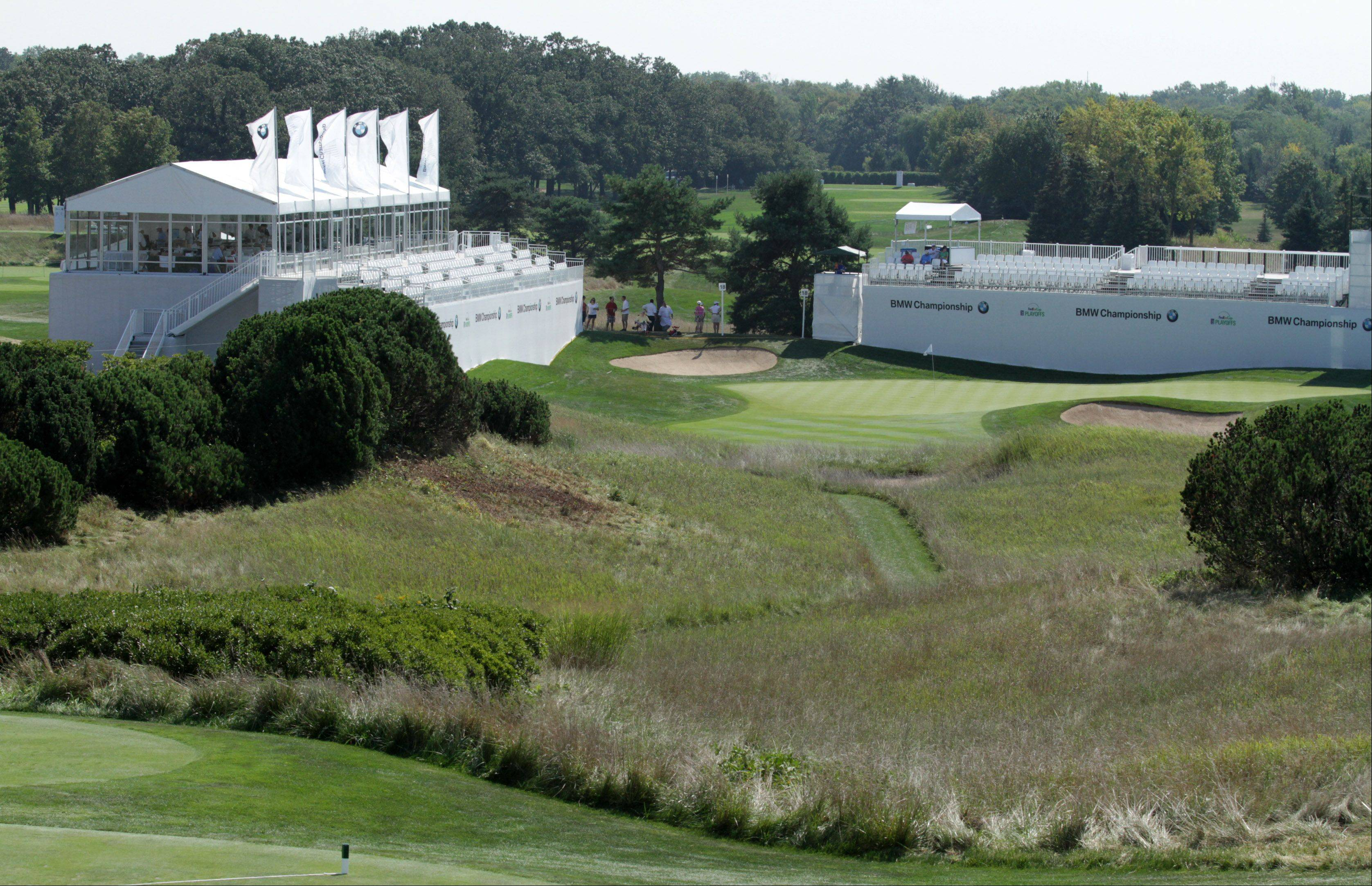 Many of the holes at Conway Farms Golf Club in Lake Forest feature large grandstands set up for the BMW Championship.