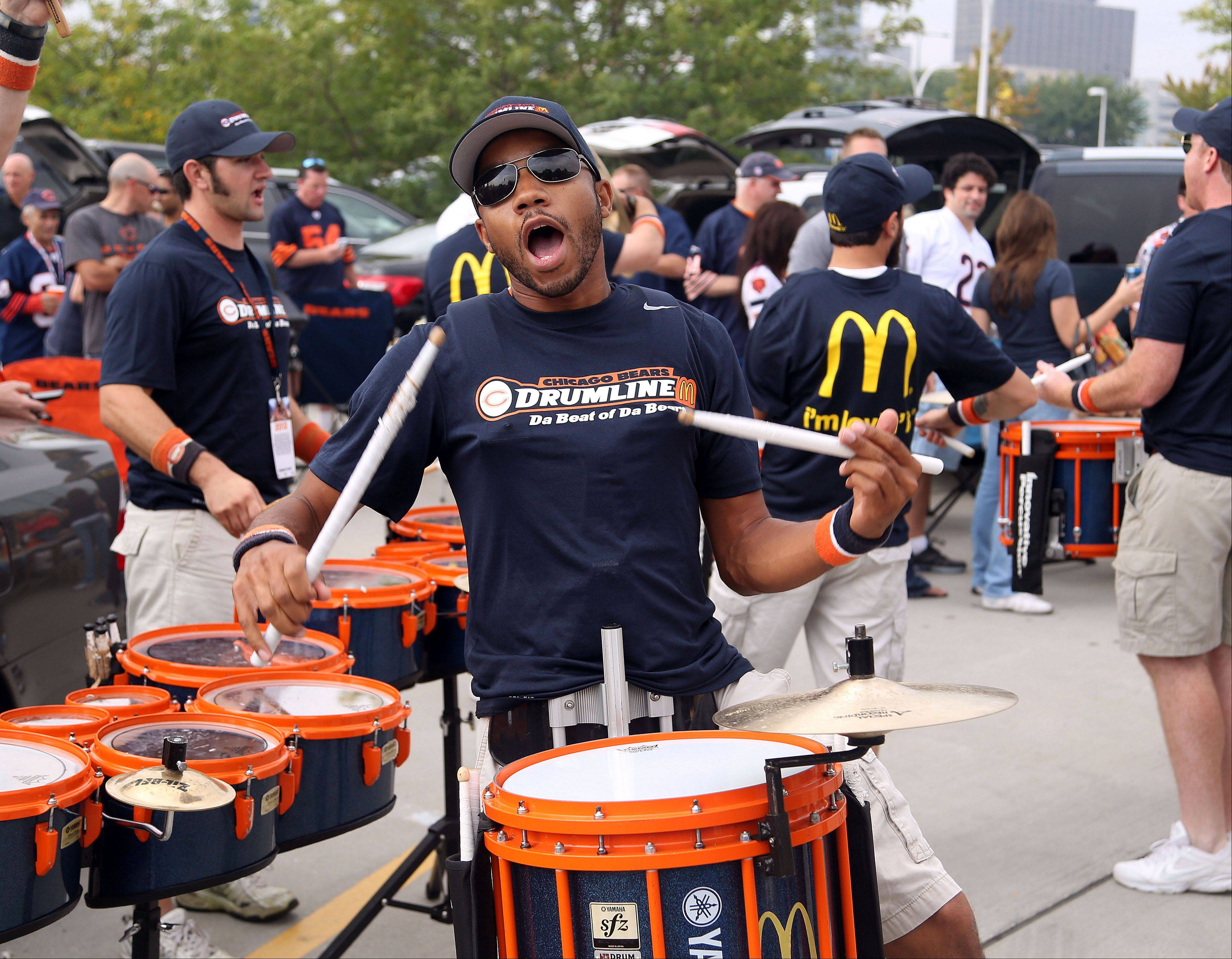 Members of the Chicago Bears Drumline make some noise for tailgaters on Sunday at Soldier Field, and the Bears made some noise with their season-opening win under rookie head coach Marc Trestman.