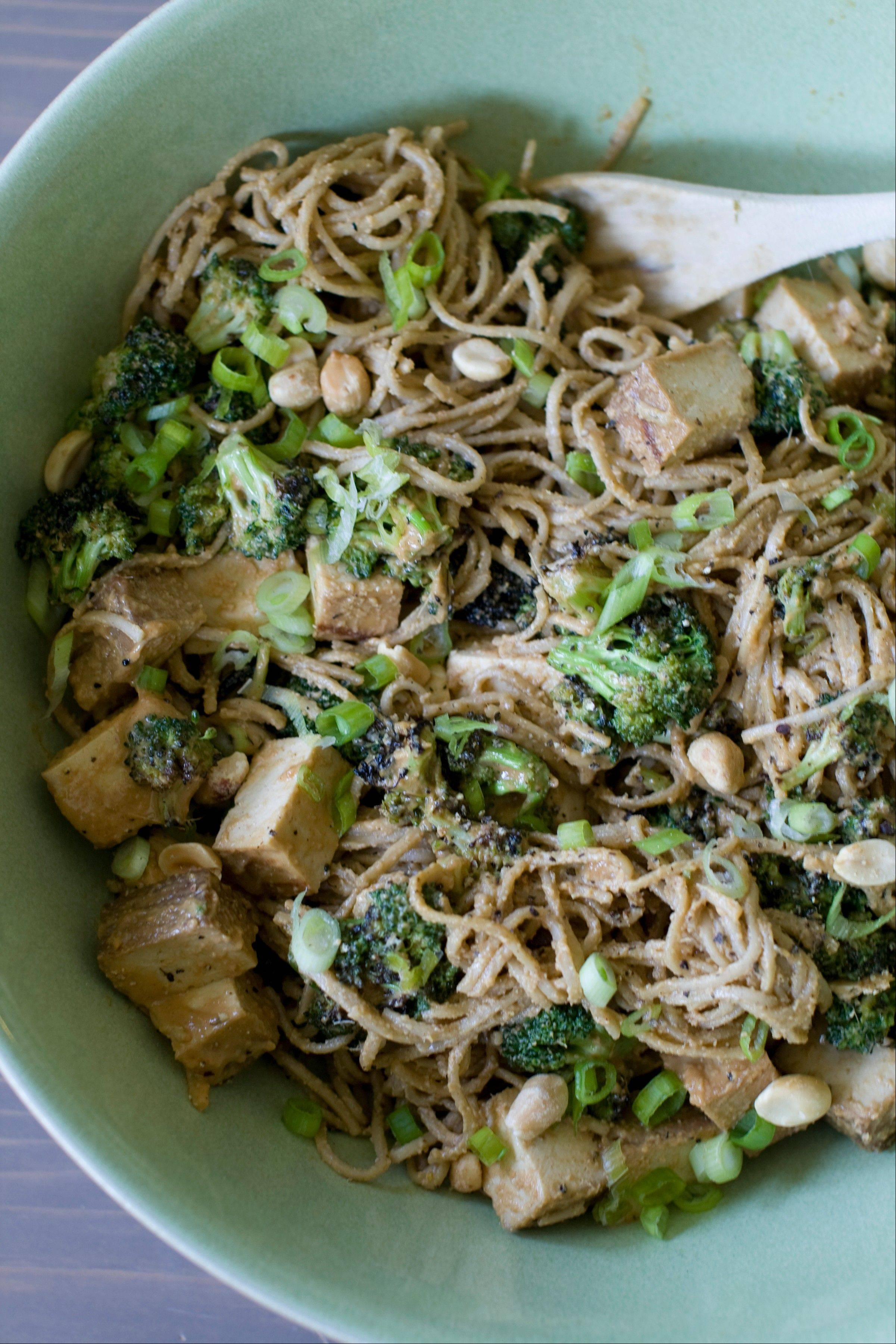 Grilling tofu makes for a delicious spicy peanut noodle salad.