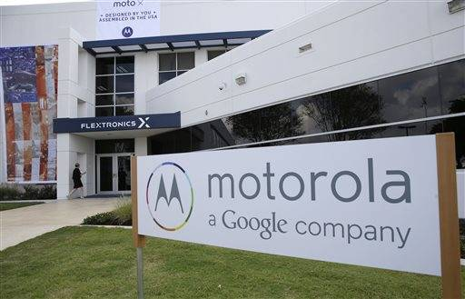 The front entrance of the Motorola smartphone plant in Fort Worth, Texas. The plant is the only U.S. factory making mobile phones.