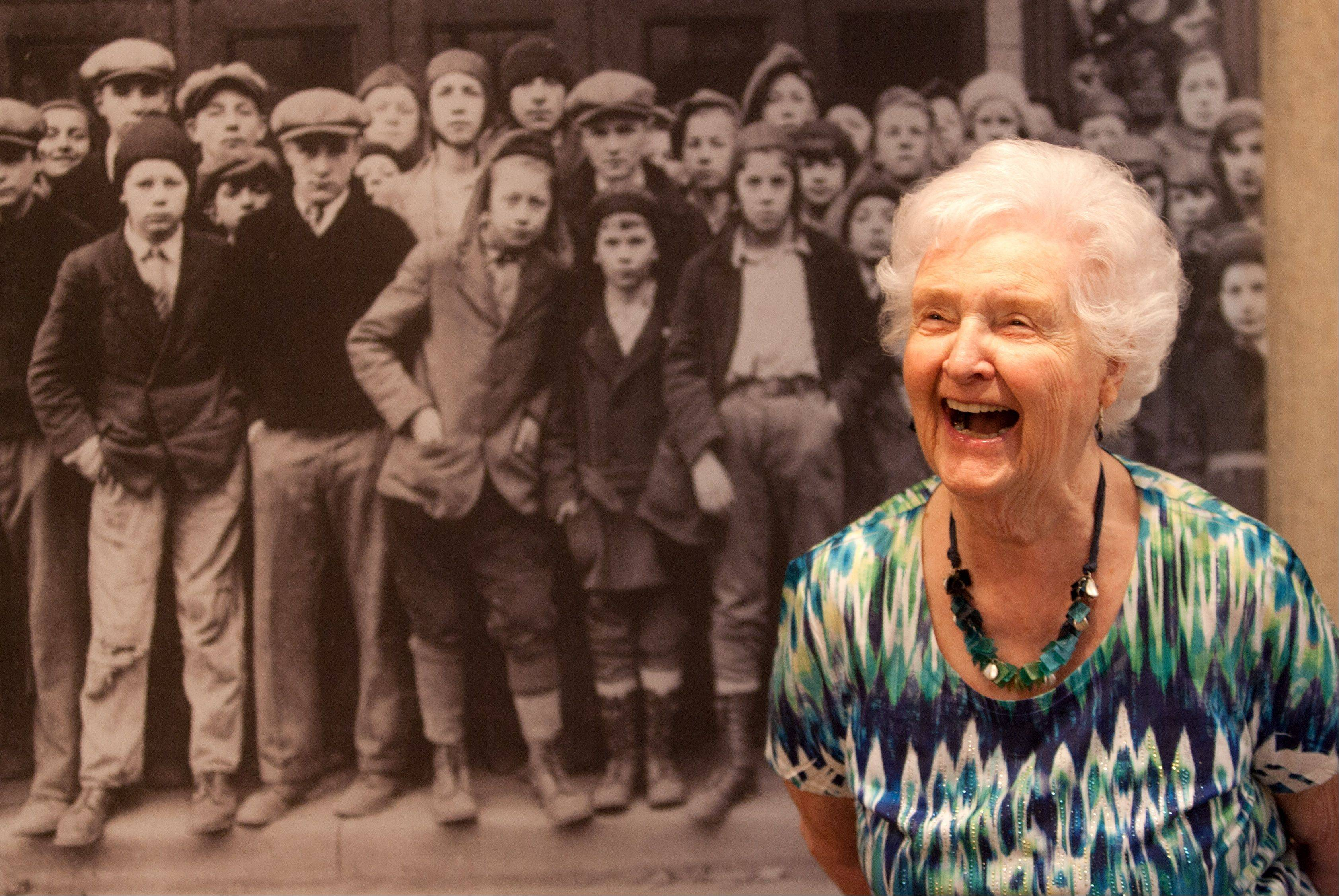 "Jean Schildbach, 93, lifelong Elmhurst resident, laughs at memories the ""Greatest Generation"" exhibit brings back."