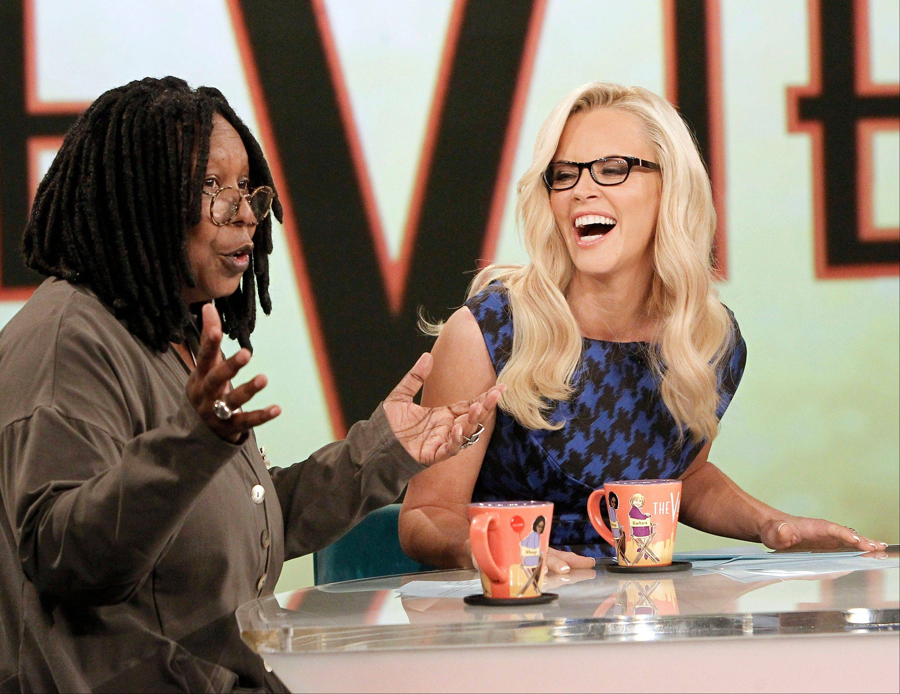 "Co-hosts Whoopi Goldberg, left, and Jenny McCarthy tape an episode of ""The View."""