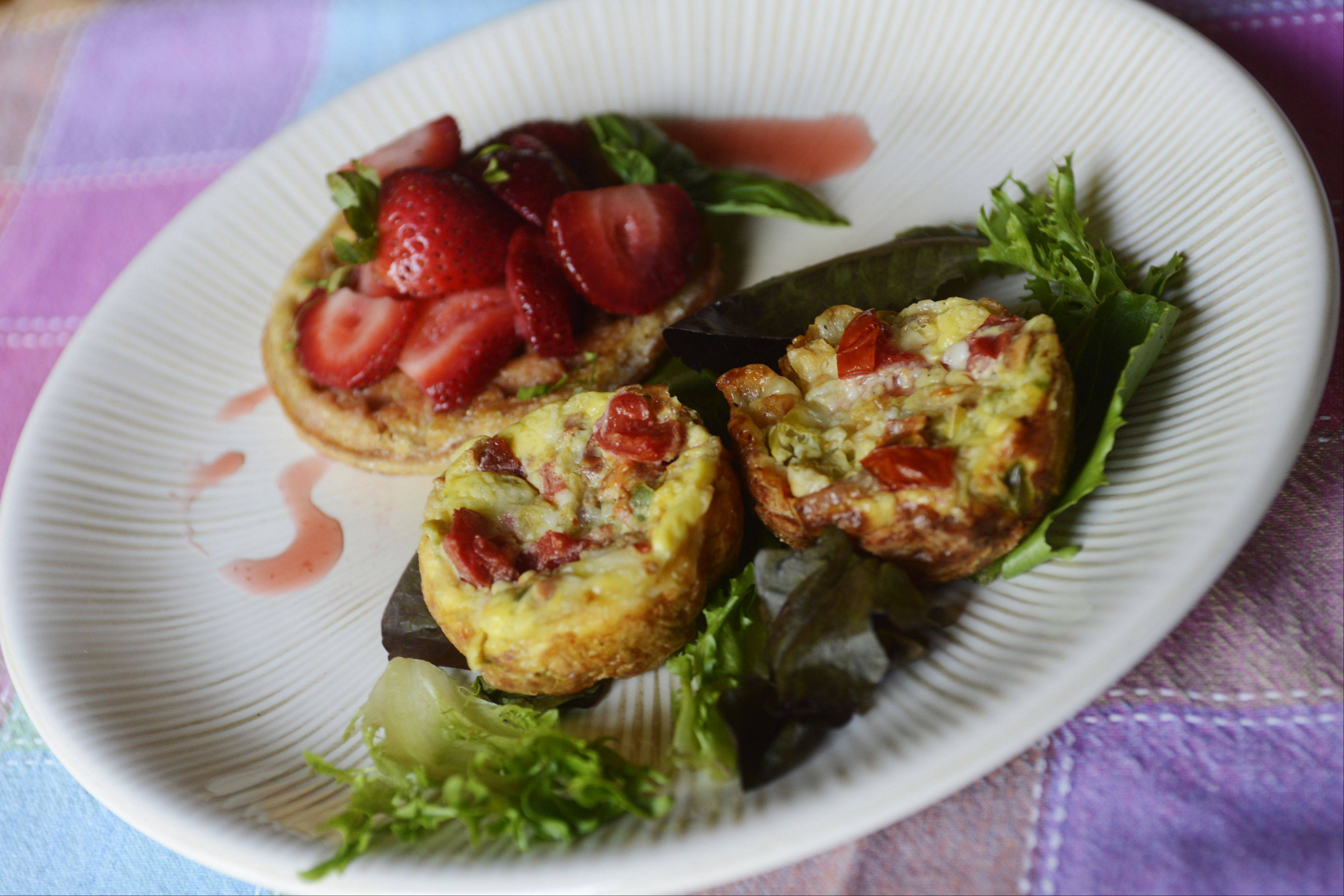 Christine Murphy of Palatine uses frozen multigrain waffles in cheesy mini strata and as the base for a tangy strawberry bruschetta