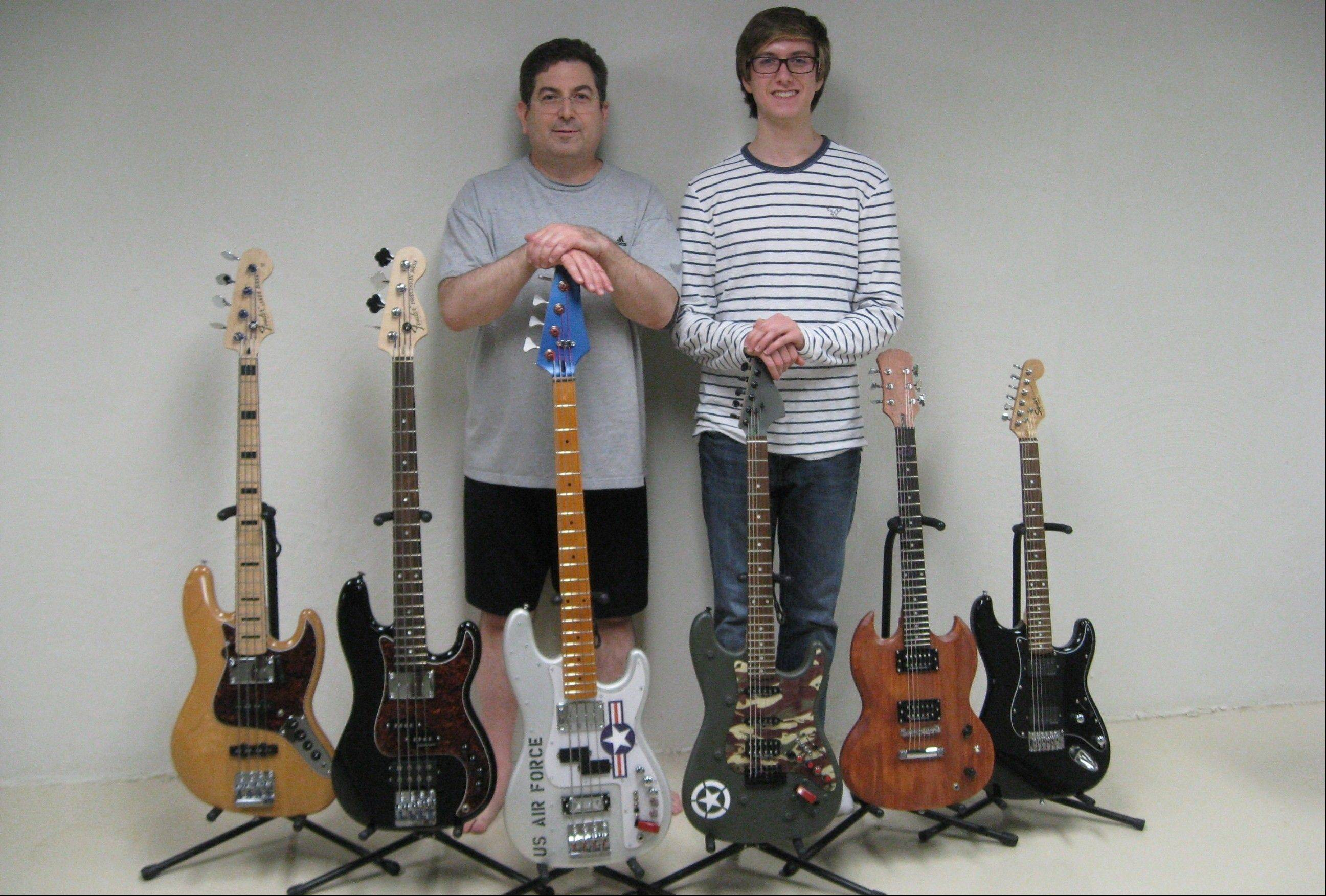 After Richard Doner, right, bought his first electric guitar, CPA Steve Doner jumped onboard the musical bandwagon. Now, the Wheaton father and son craft elaborate, custom guitars, which they donate to charity.