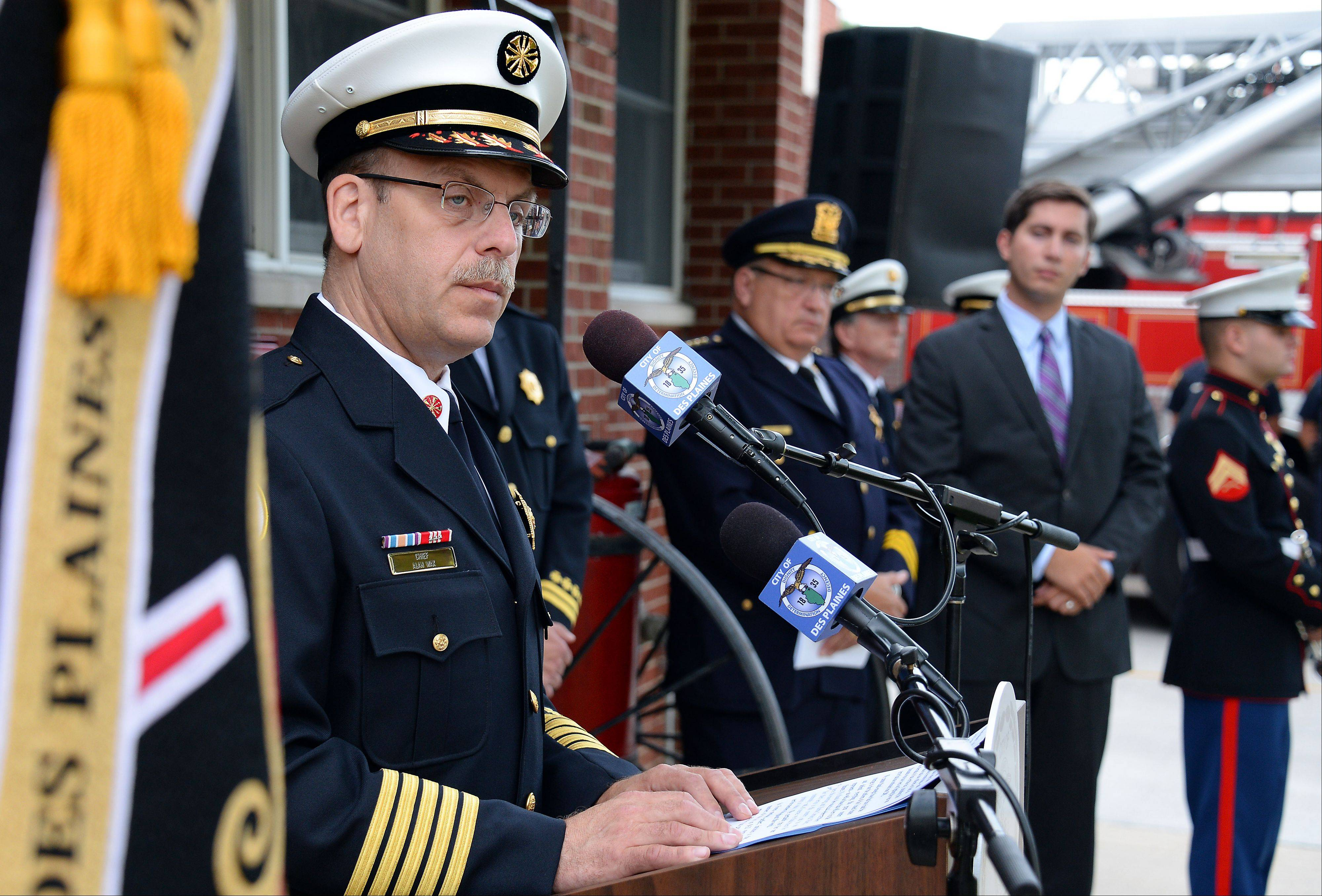 Des Plaines fire chief Alan Wax honors the fallen with his words at the September 11th memorial and Patriot Day ceremony at fire station 1 on Wednesday.