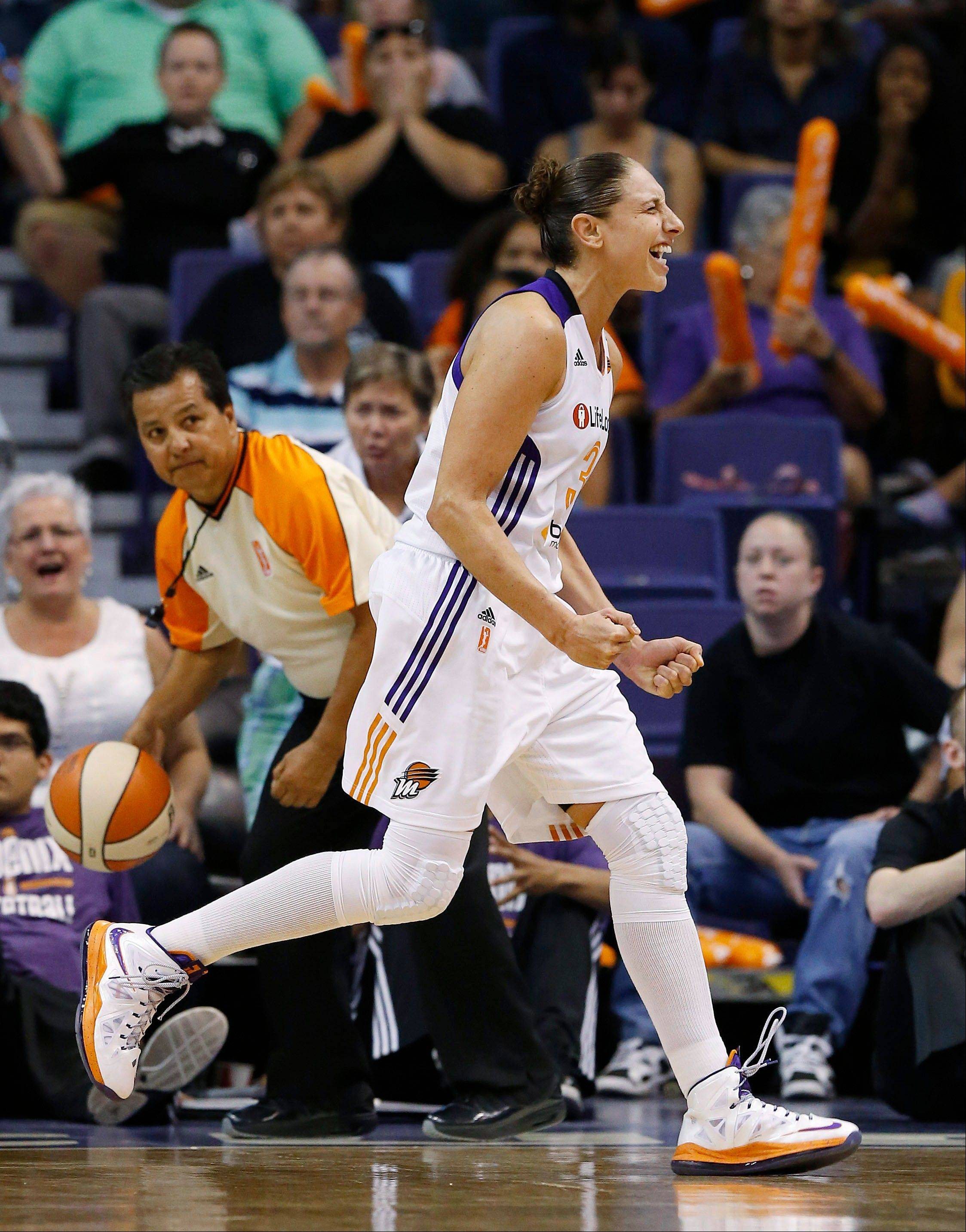 The Phoenix Mercury's Diana Taurasi reacts after she was called for a technical foul on June 14. She's received nine technicals so far this season.