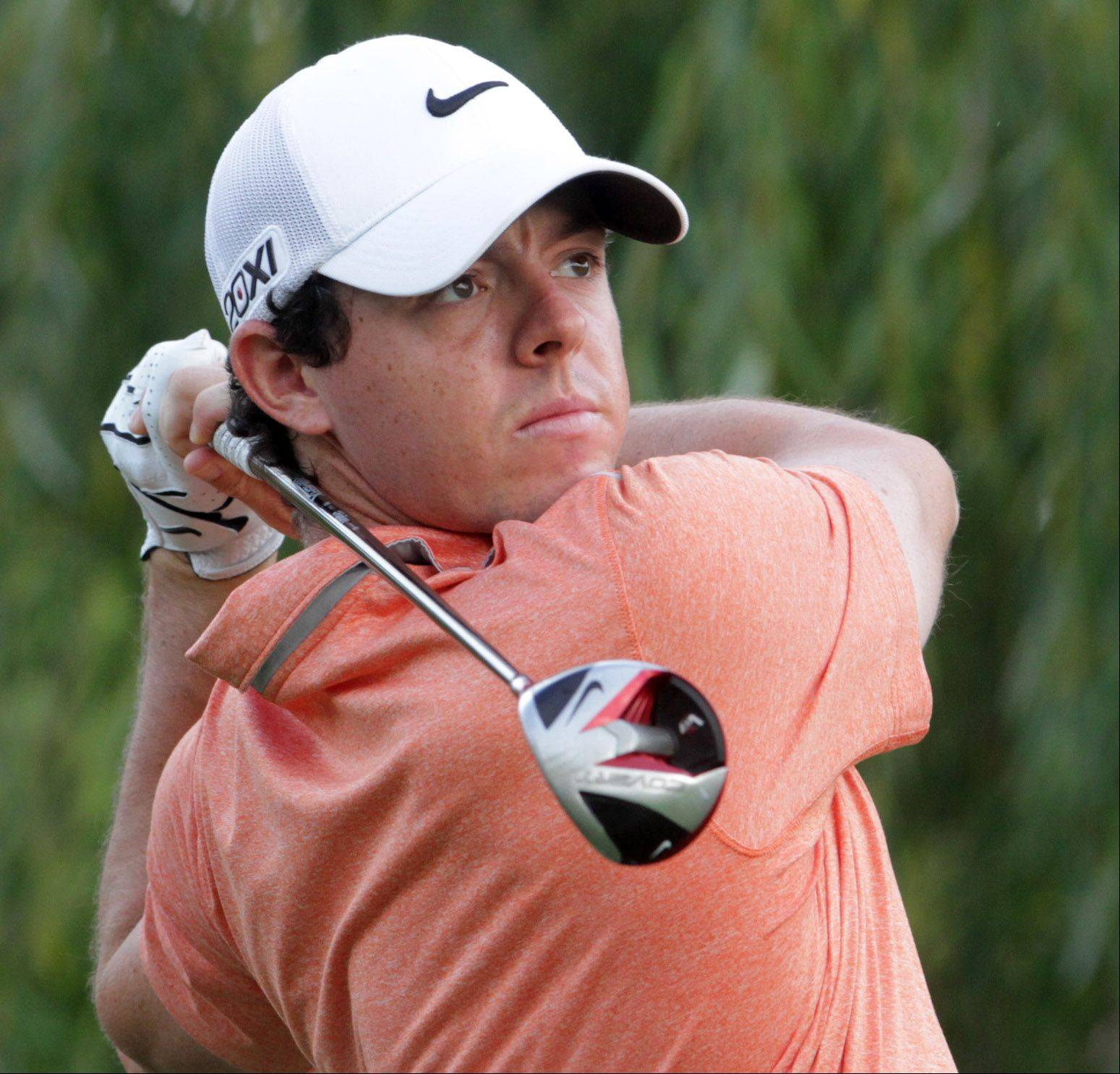 Rory McIlroy tees off on five.
