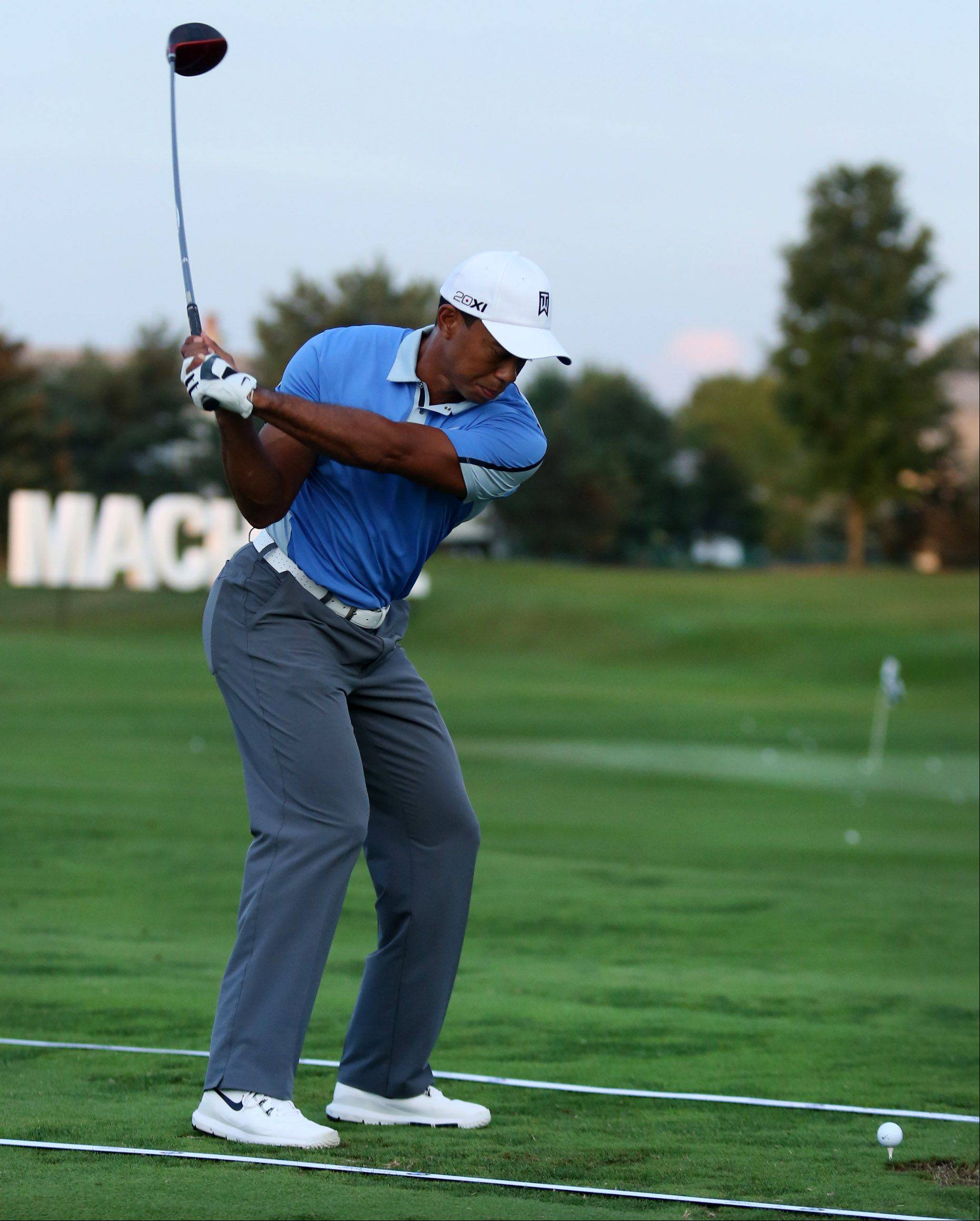 Tiger Woods on the practice driving range.